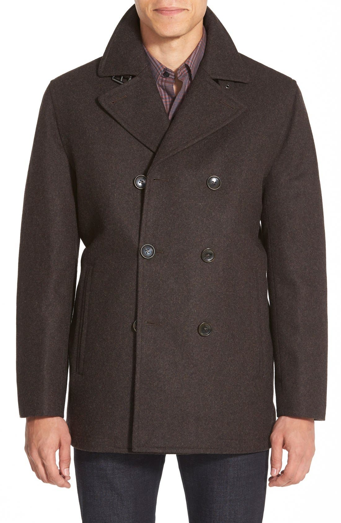 Wool Blend Double Breasted Peacoat,                             Main thumbnail 11, color,