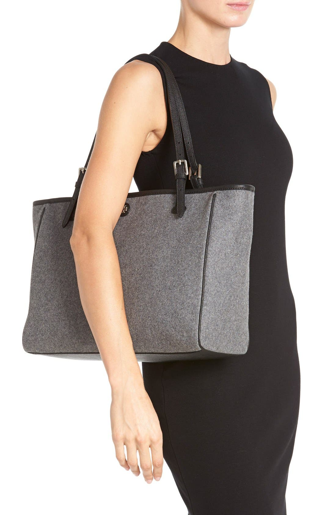'York' Flannel Buckle Tote,                             Alternate thumbnail 4, color,                             020