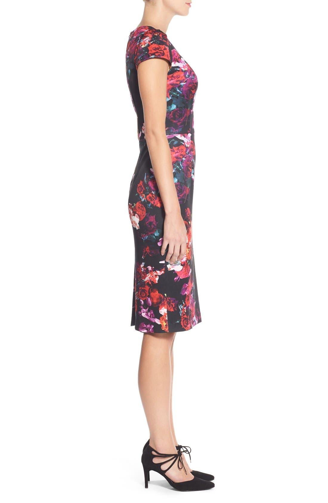 Floral Print Knit Sheath Dress,                             Alternate thumbnail 5, color,                             006