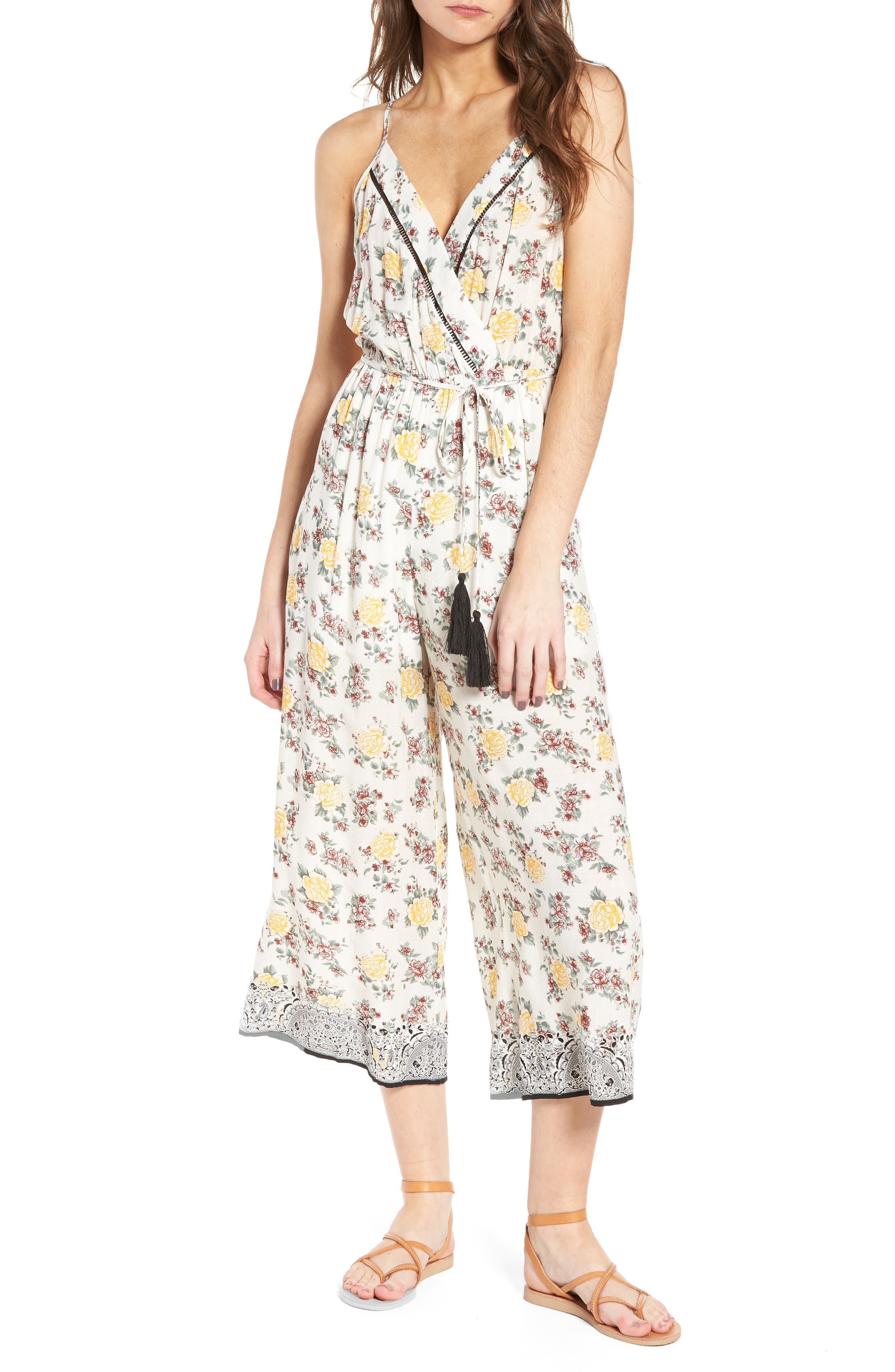 Floral Surplice Jumpsuit,                         Main,                         color,