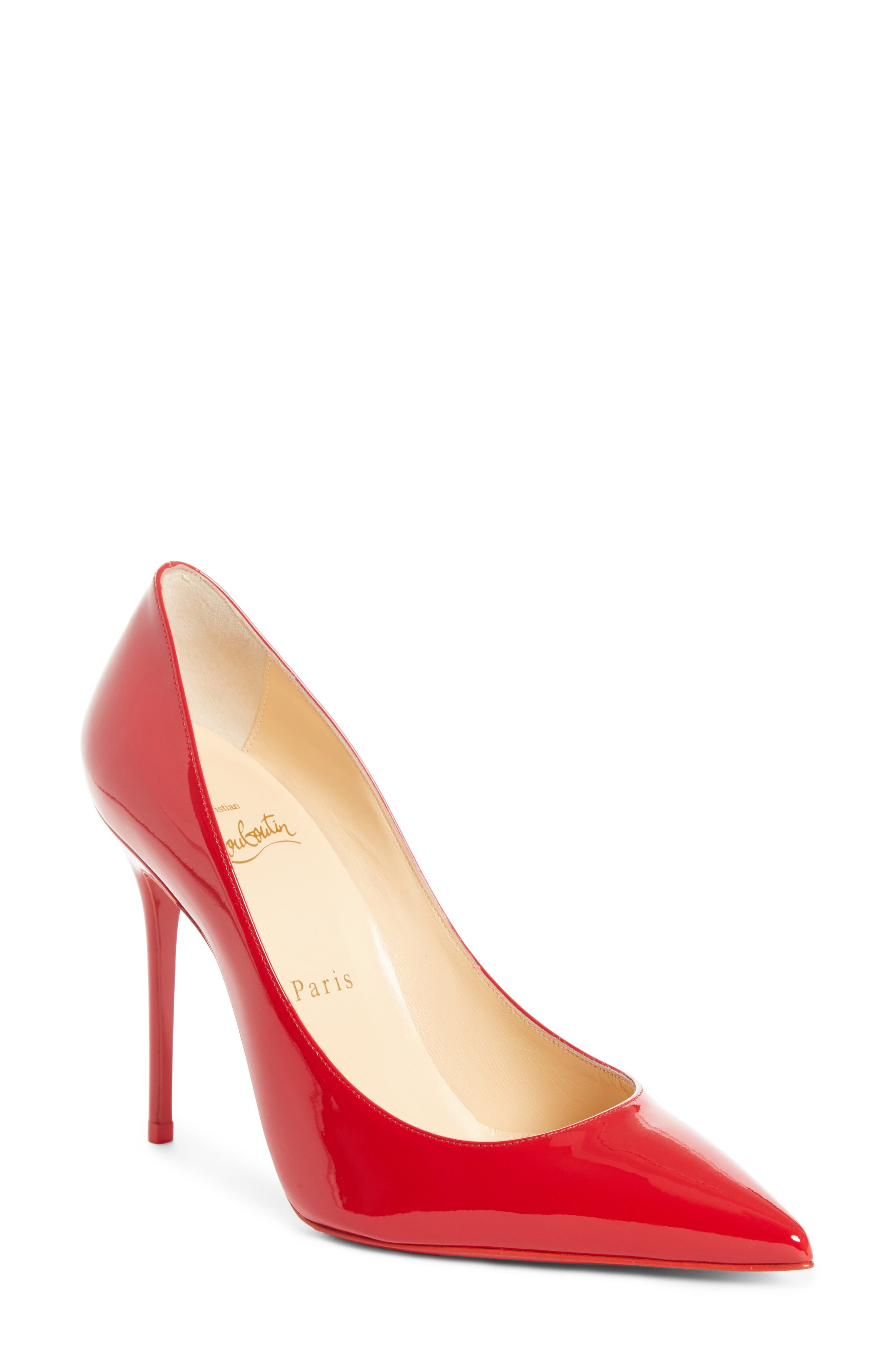 'Decollete' Pointy Toe Pump,                             Main thumbnail 1, color,                             LOUBI RED