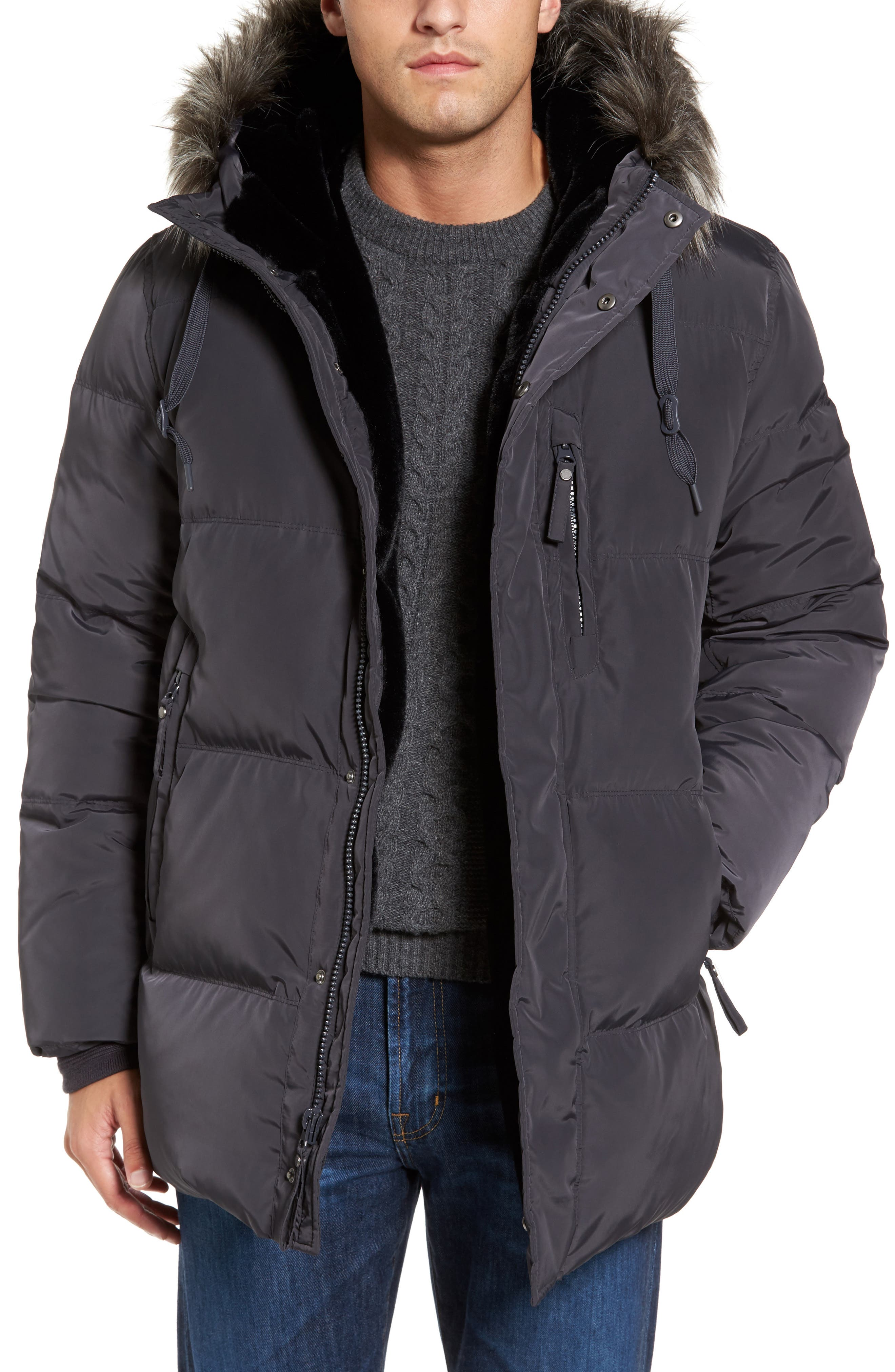 Quilted Down Parka with Faux Fur Trim,                         Main,                         color, 070