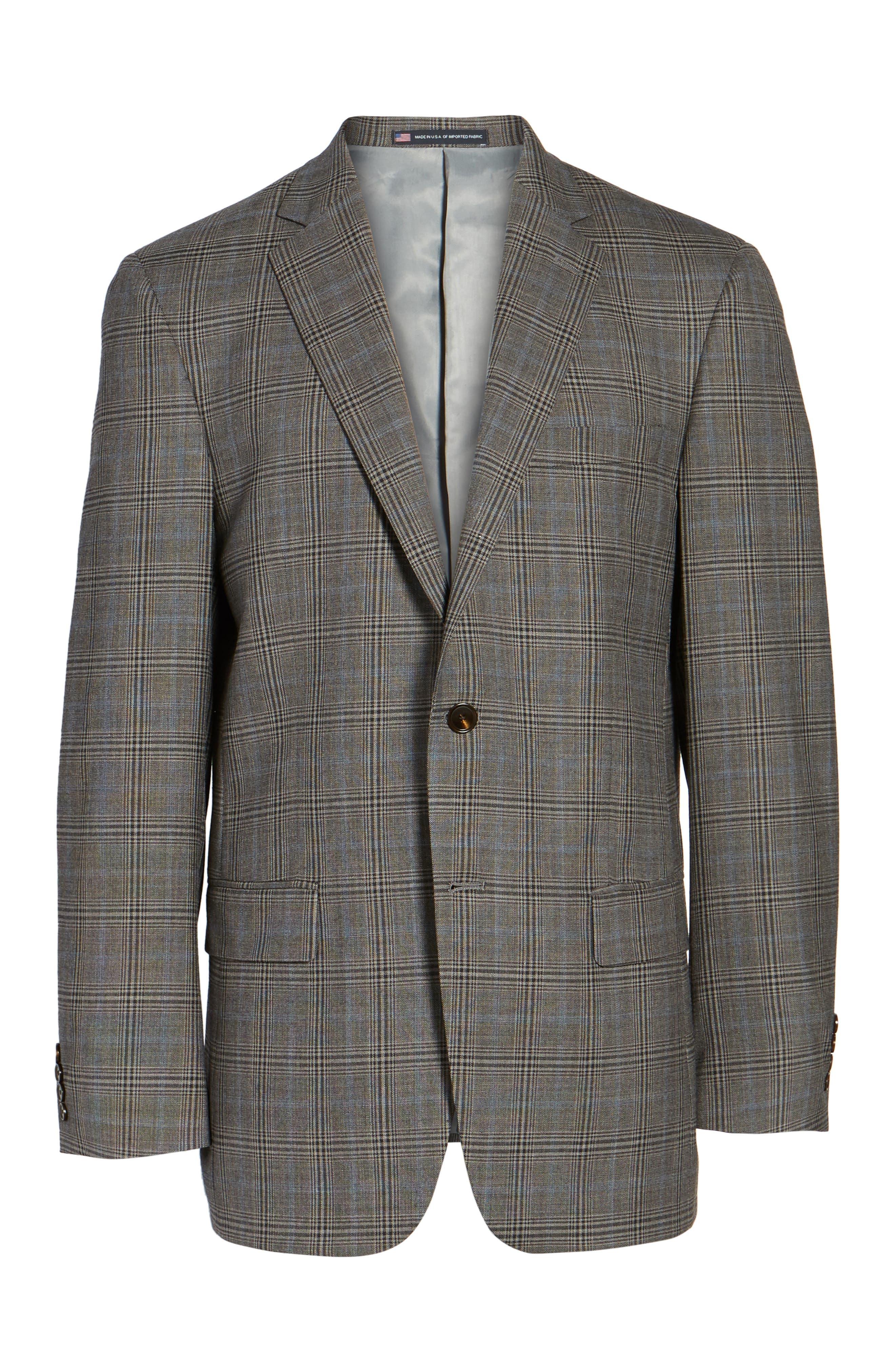 Classic Fit Plaid Stretch Wool Sport Coat,                             Alternate thumbnail 5, color,                             030