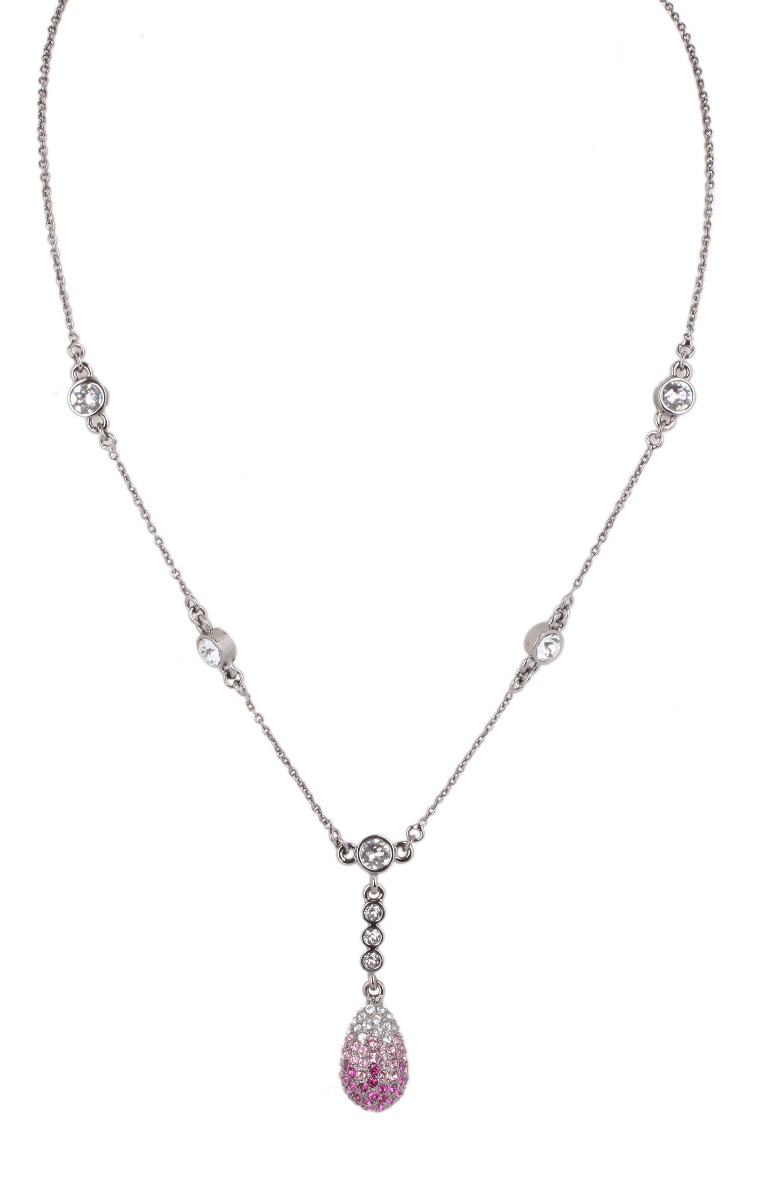Pavé Swarovski Crystal Pendant Necklace,                             Main thumbnail 1, color,                             FUCHSIA/ SILVER