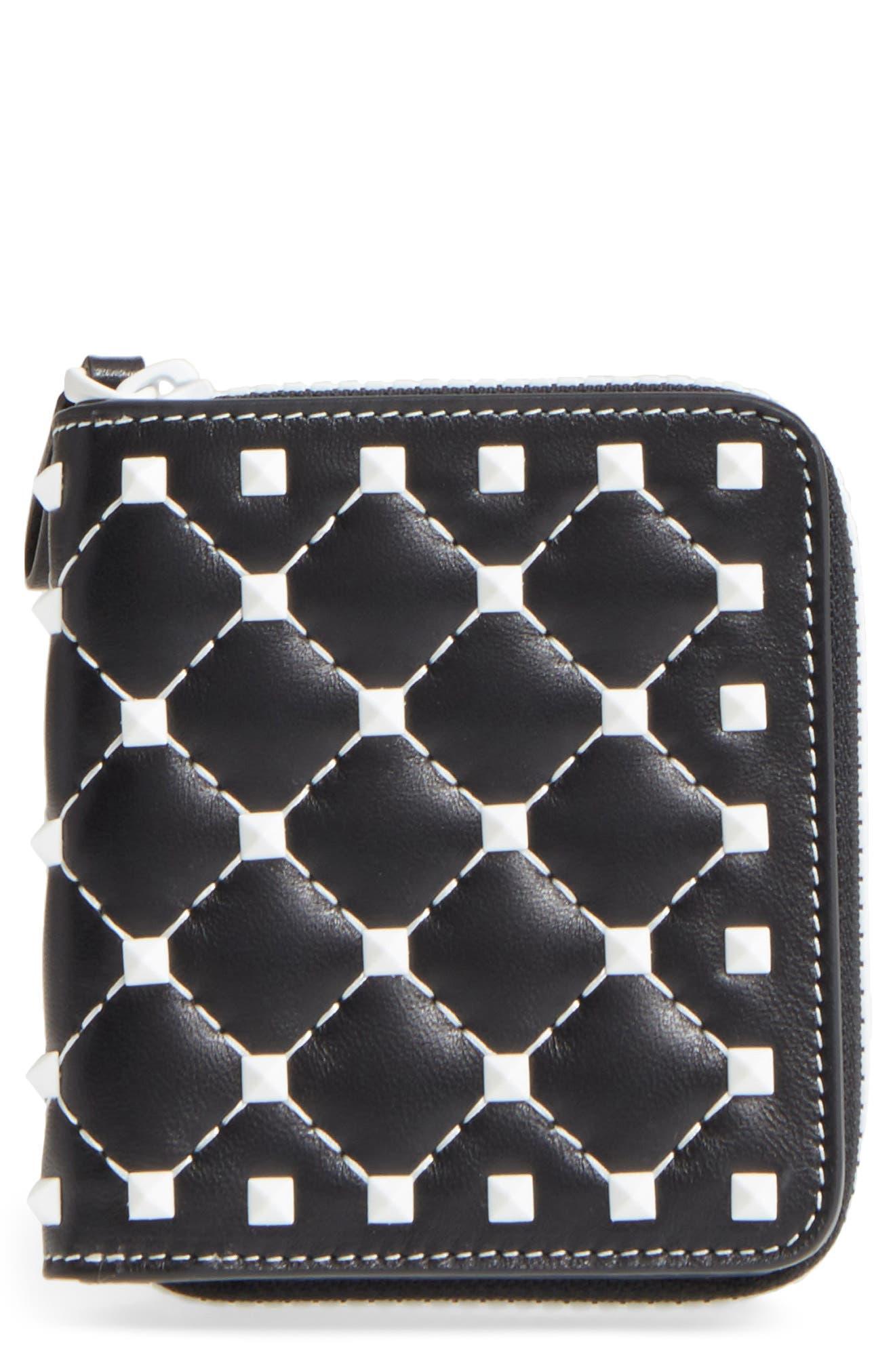 Rockstud Matelassé Leather French Wallet,                         Main,                         color, 001