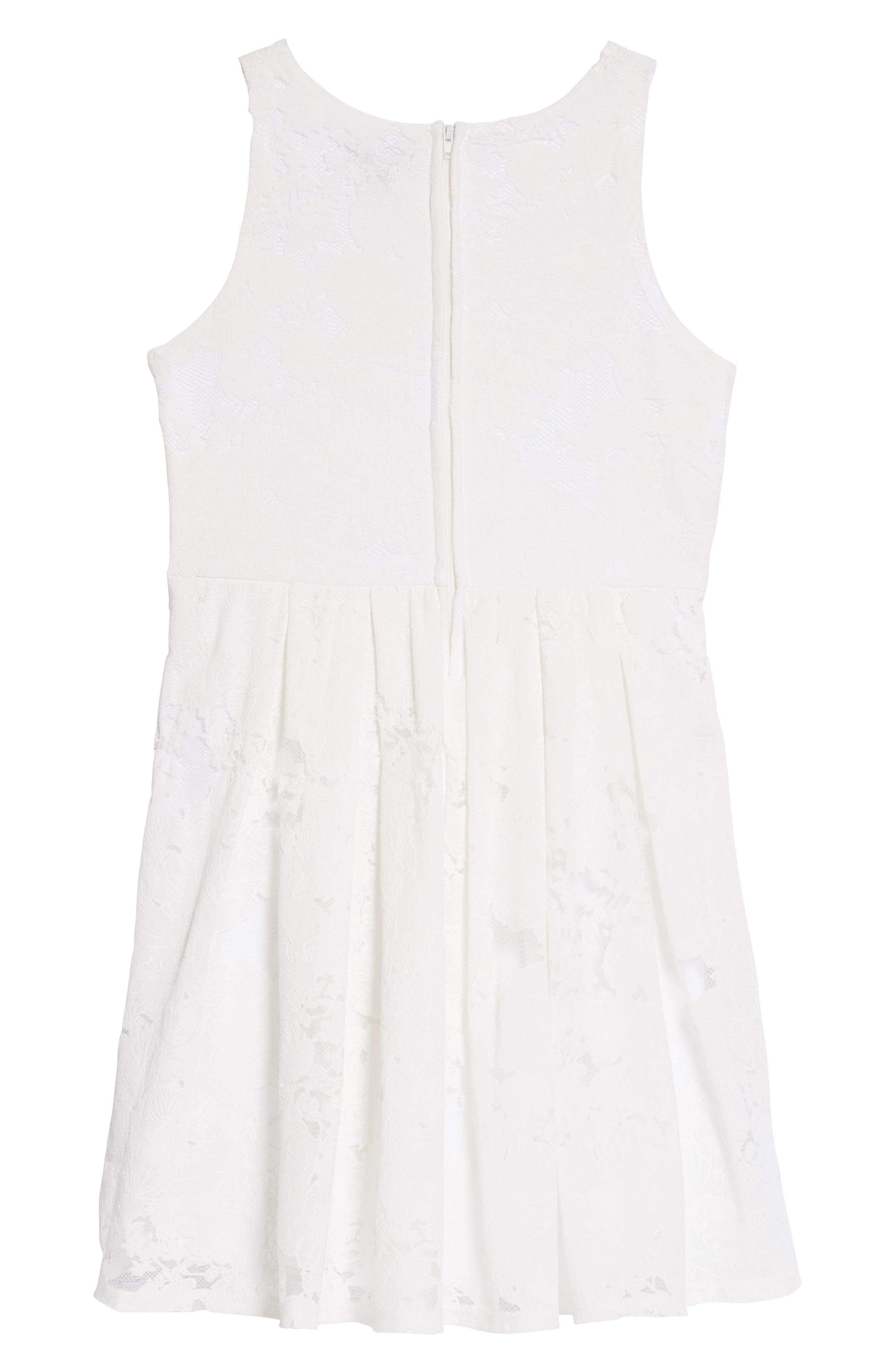 Lace Overlay Skater Dress,                             Alternate thumbnail 2, color,                             WHITE
