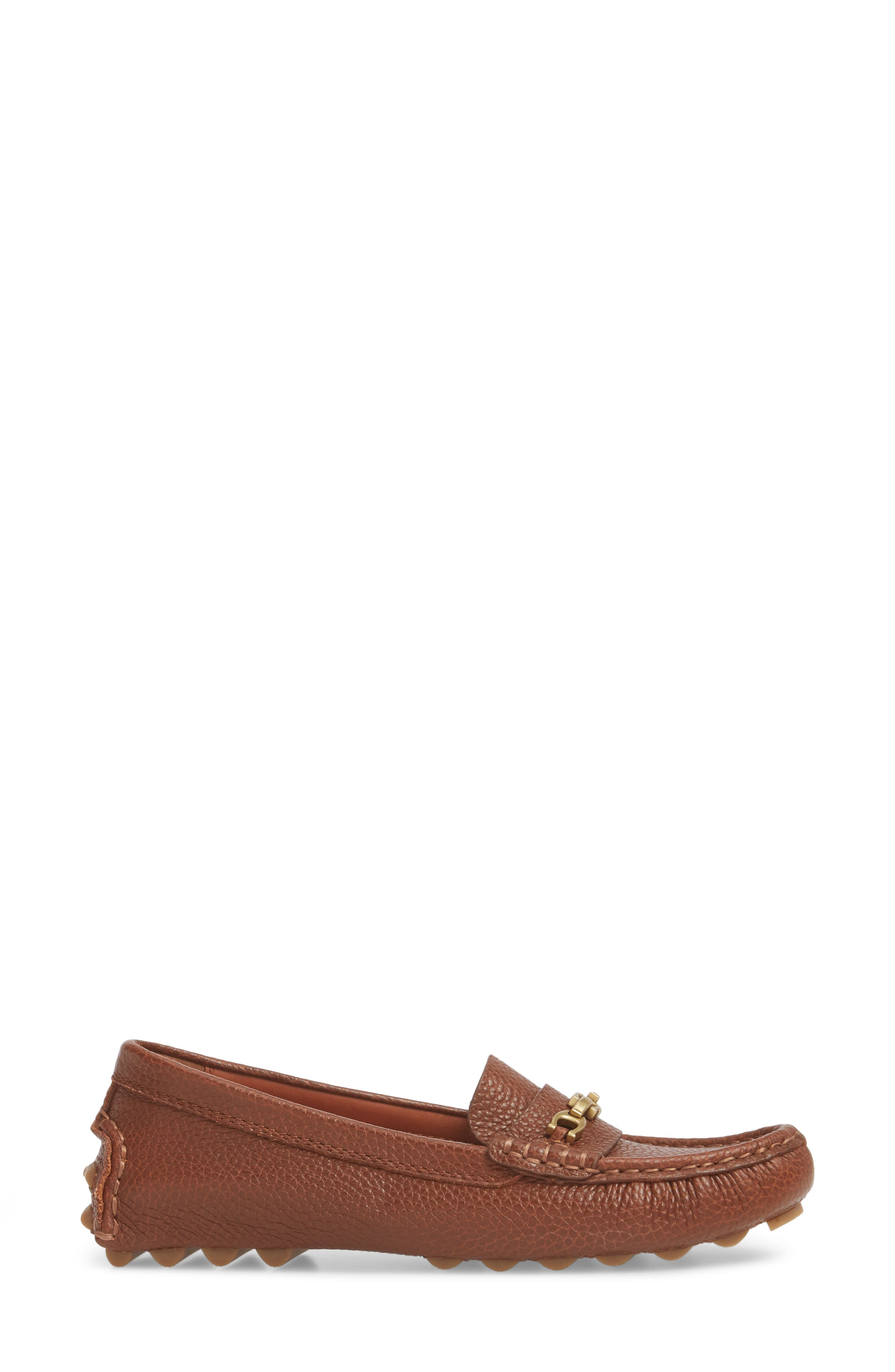 Crosby Driver Loafer,                             Alternate thumbnail 3, color,                             LION PEBBLED LEATHER