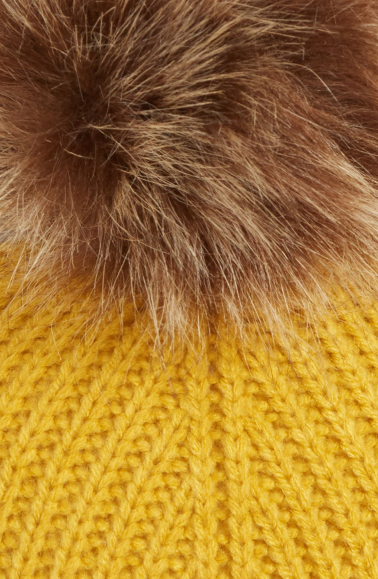 Faux Fur Pompom Turban,                             Alternate thumbnail 2, color,                             MUSTARD