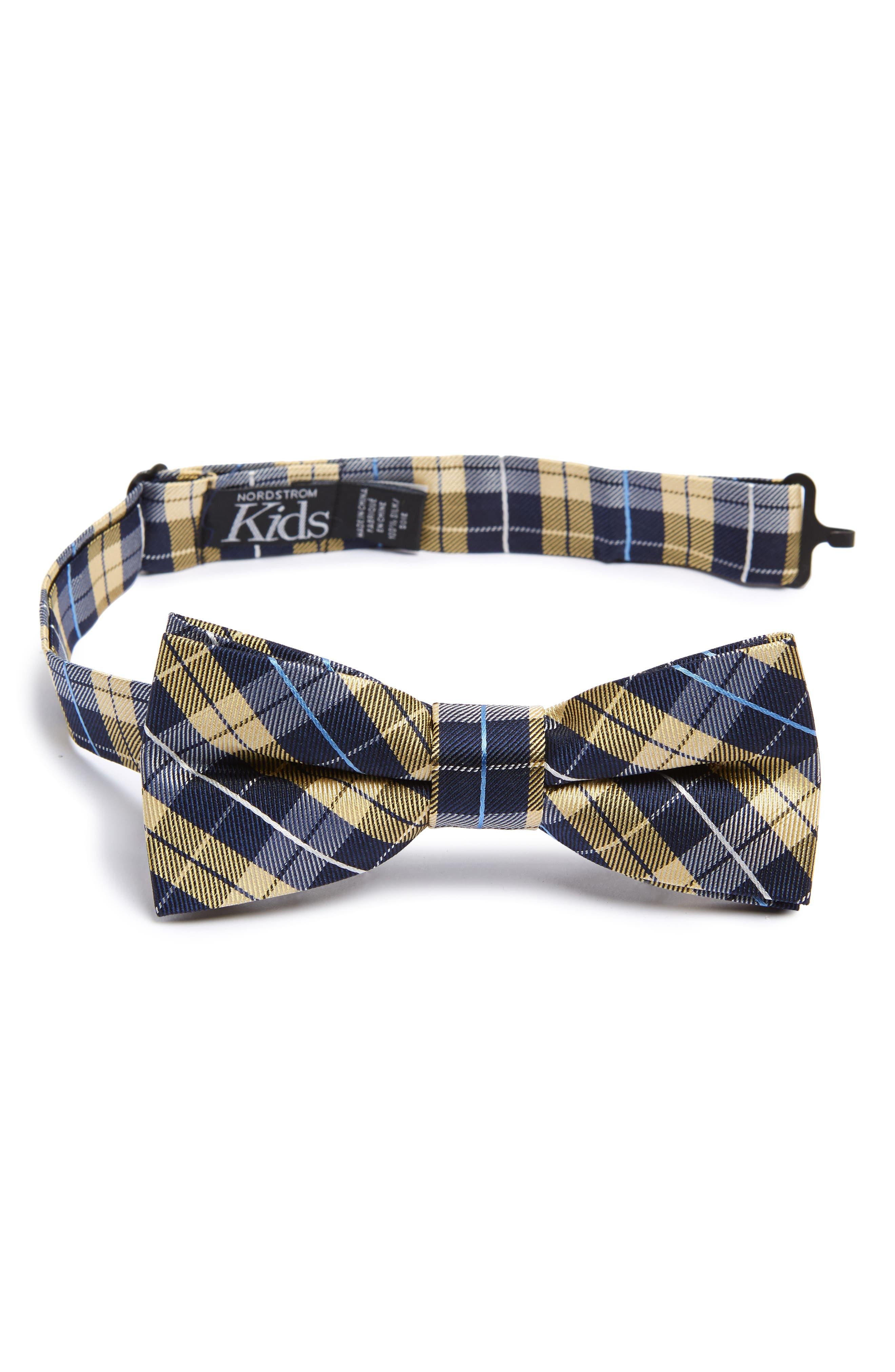 Plaid Silk Bow Tie,                             Main thumbnail 1, color,                             YELLOW