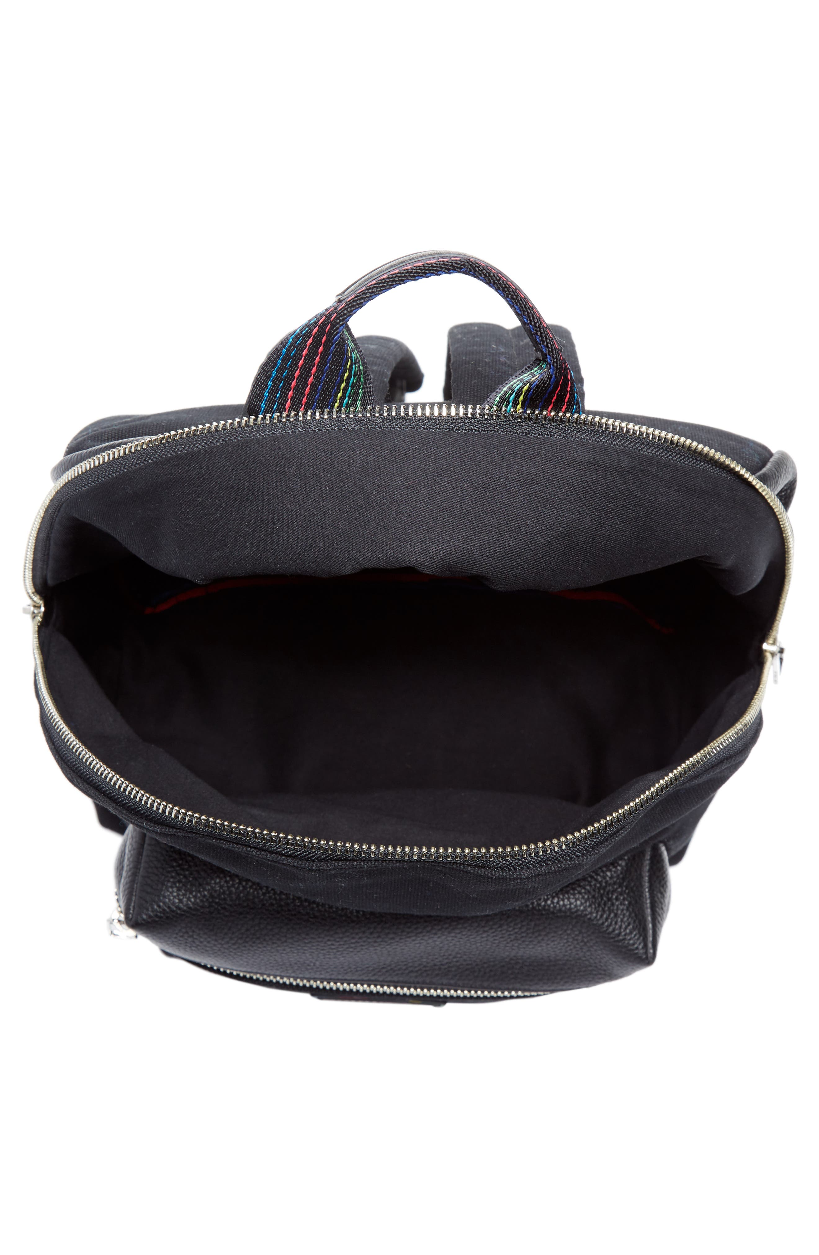 Leather Trim Canvas Backpack,                             Alternate thumbnail 3, color,                             001