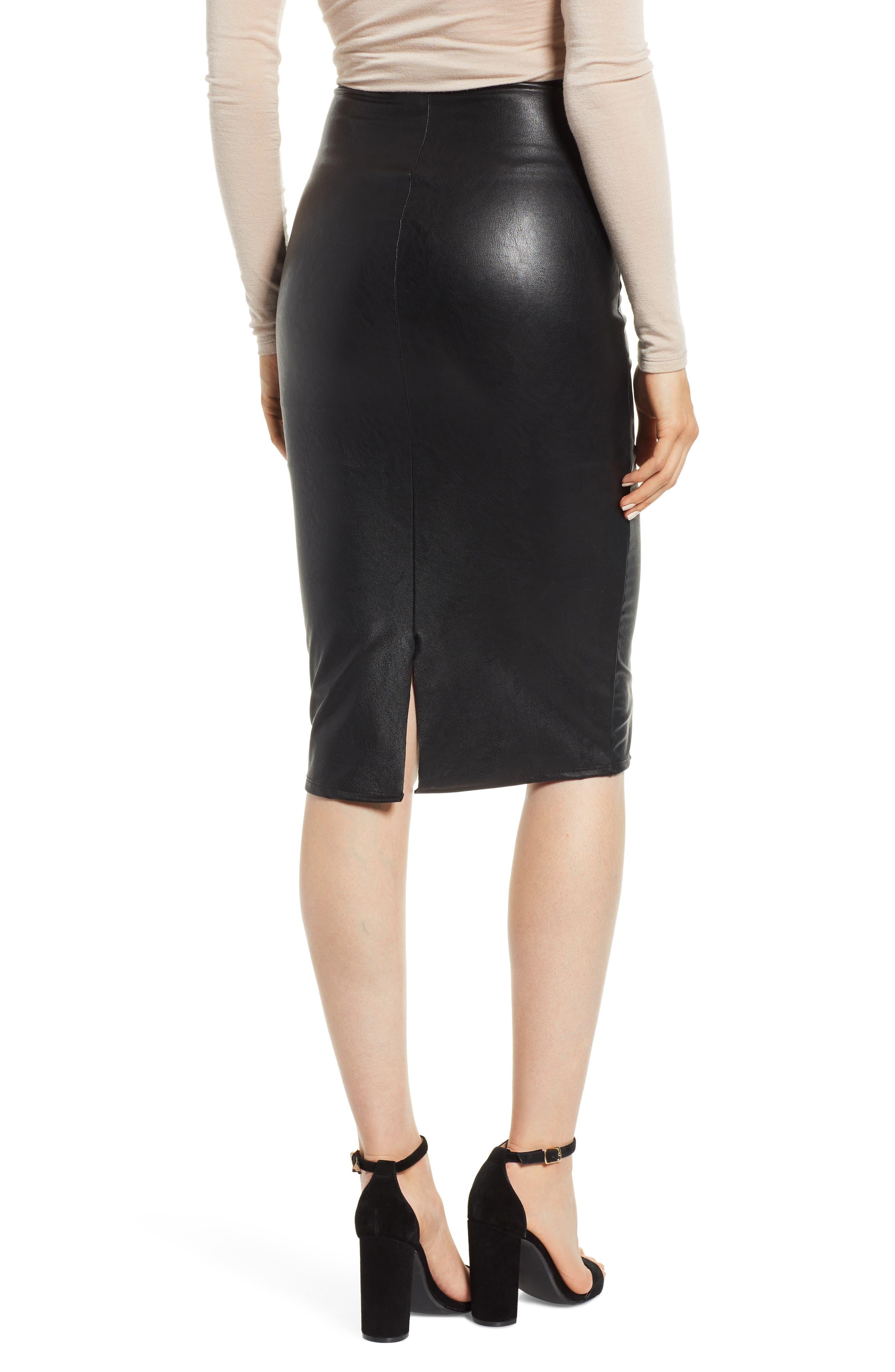 Faux Leather Midi Skirt,                             Alternate thumbnail 2, color,                             BLACK