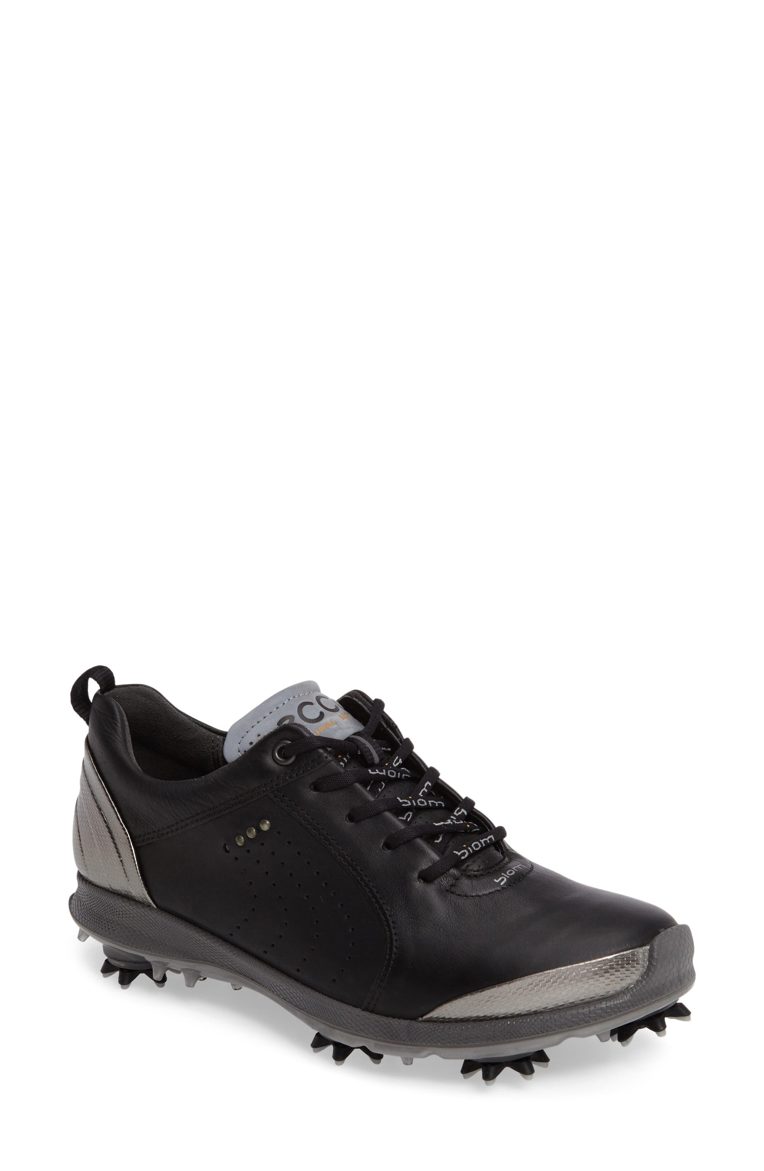 BIOM 2 Waterproof Golf Shoe,                             Main thumbnail 1, color,                             BLACK/ BUFFED SILVER LEATHER