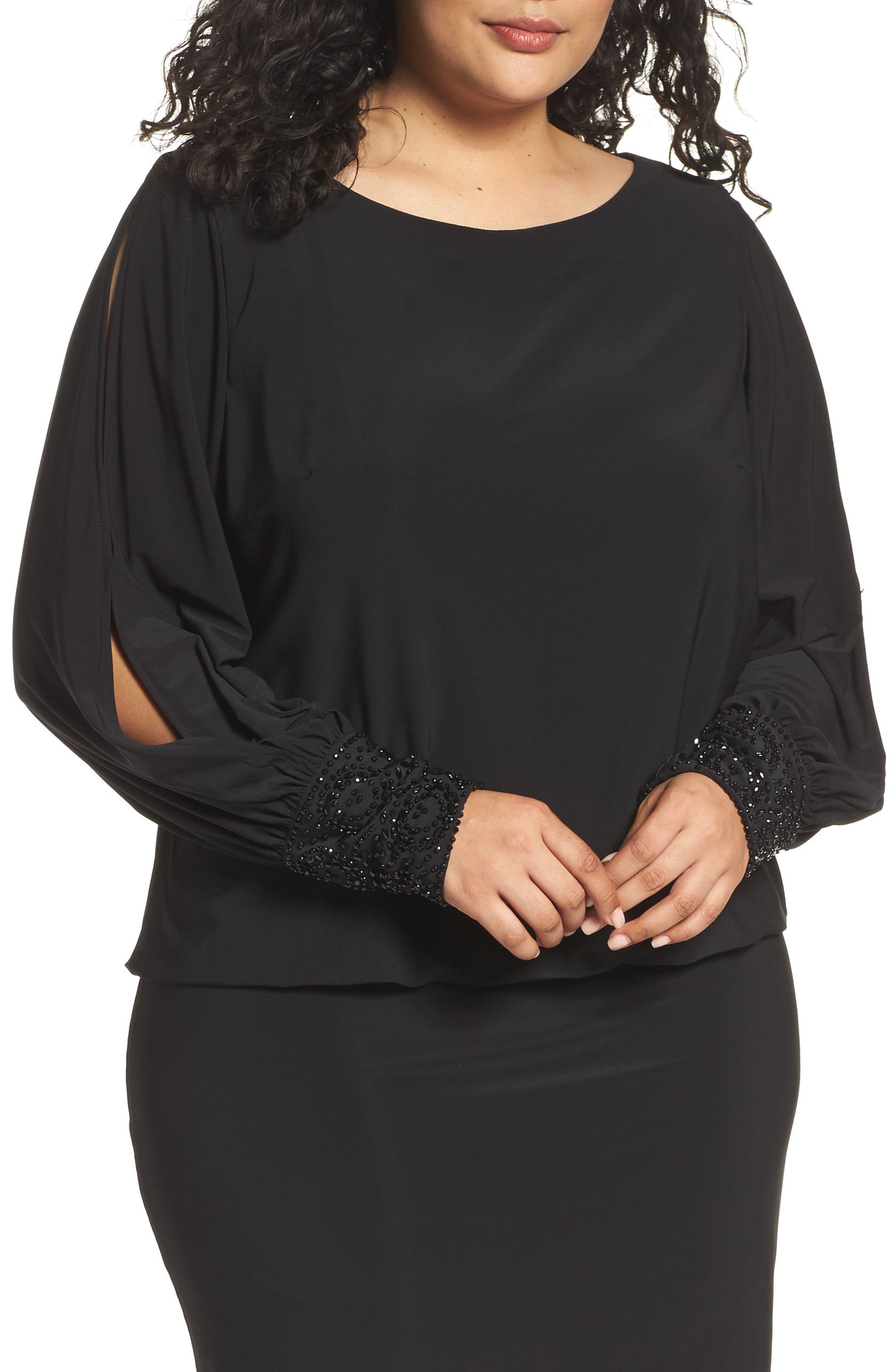 Embellished Cuff Blouson Jersey Dress,                             Alternate thumbnail 6, color,                             BLACK