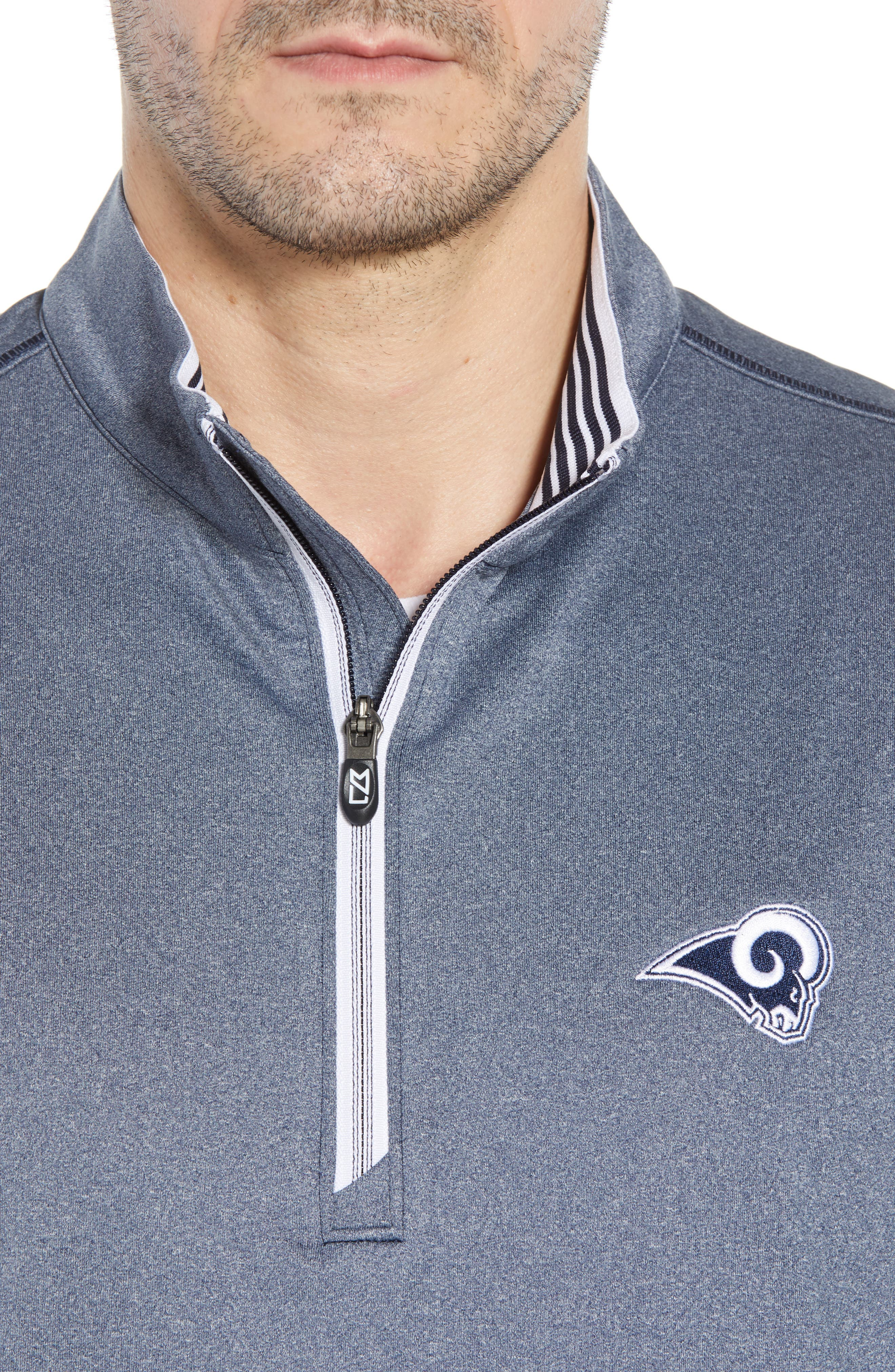 Endurance Los Angeles Rams Regular Fit Pullover,                             Alternate thumbnail 4, color,                             LIBERTY NAVY HEATHER