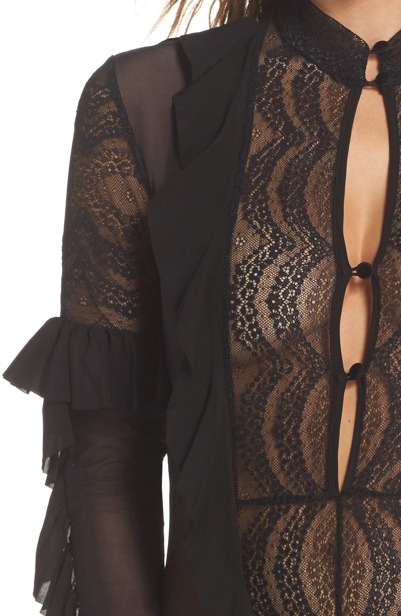 Eva Lace Ruffle Bodysuit,                             Alternate thumbnail 4, color,                             002