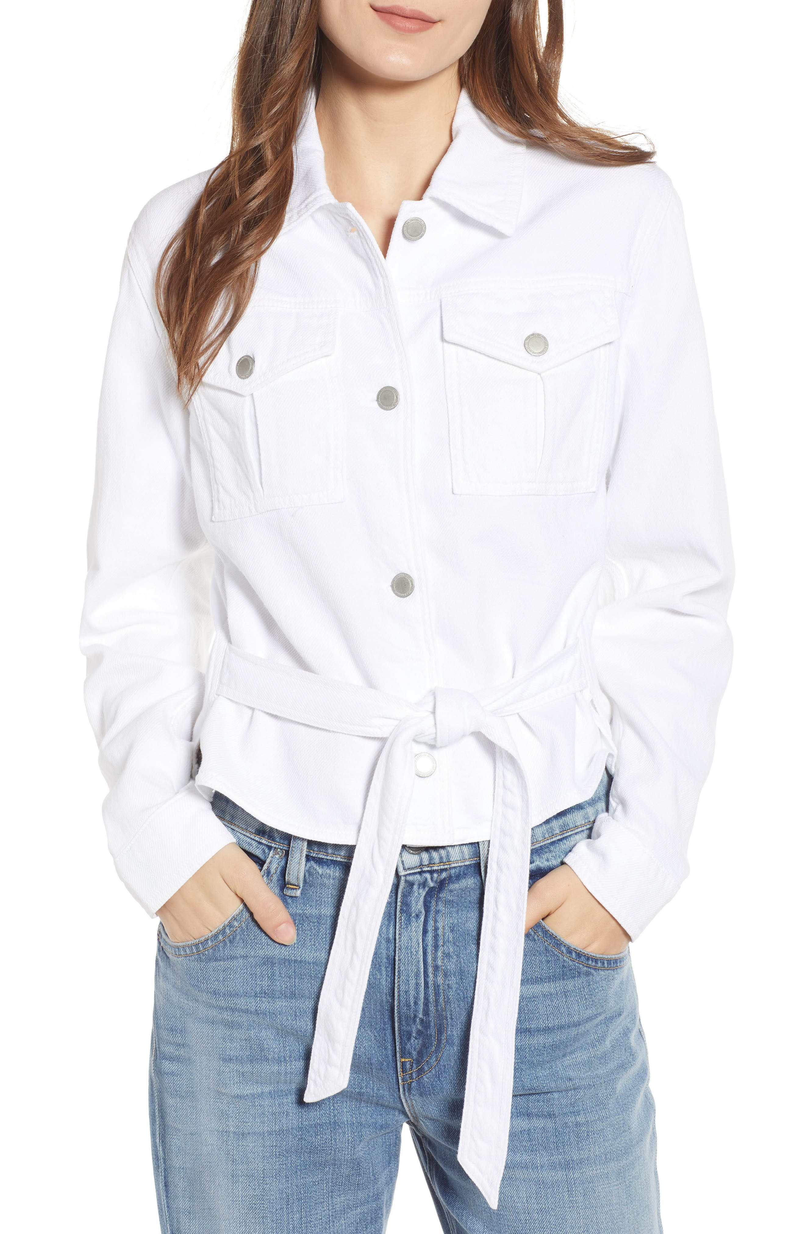 Button-Front Military Tie Top in Off White