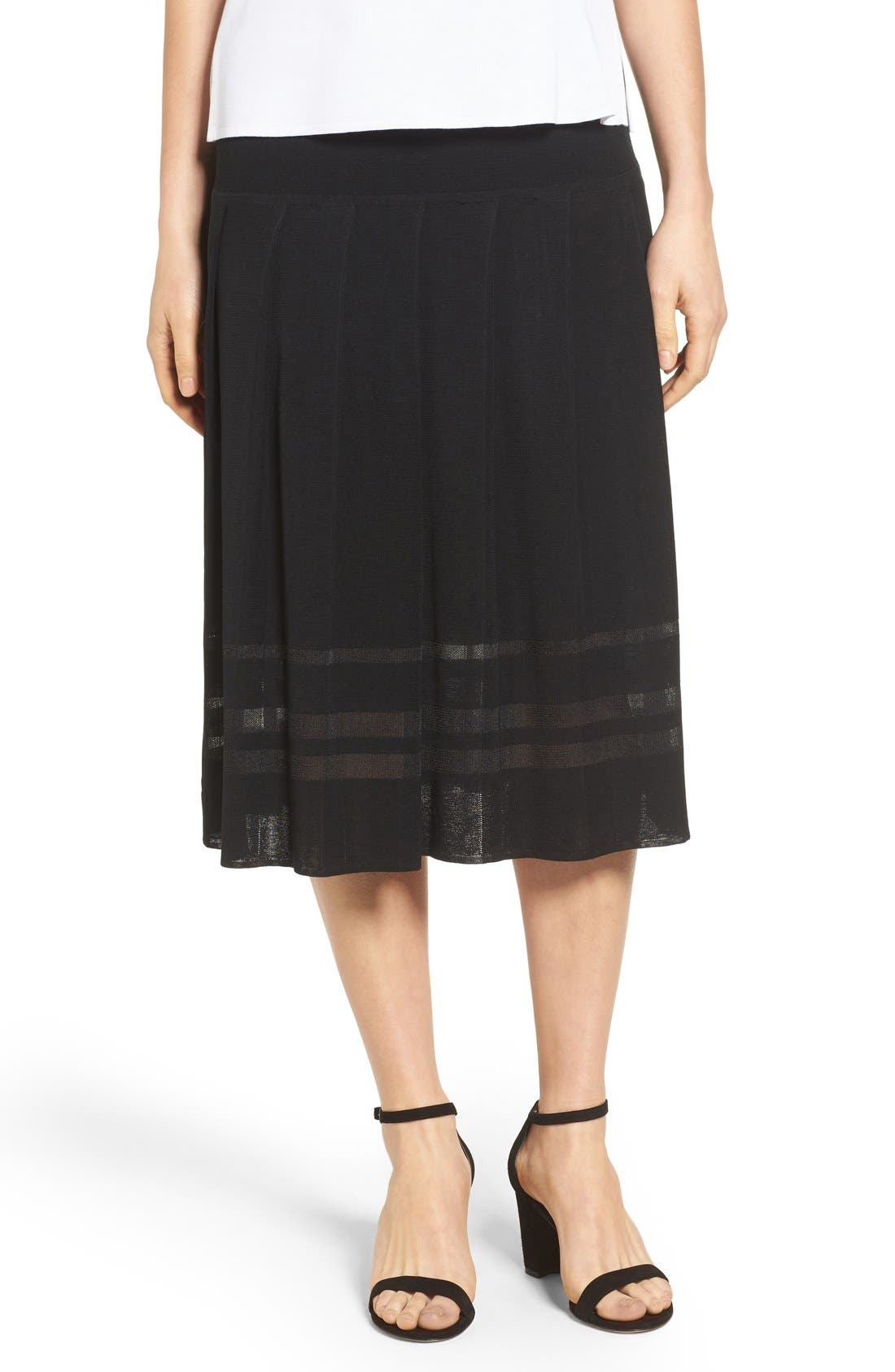 Pleated Midi Skirt,                         Main,                         color, BLACK