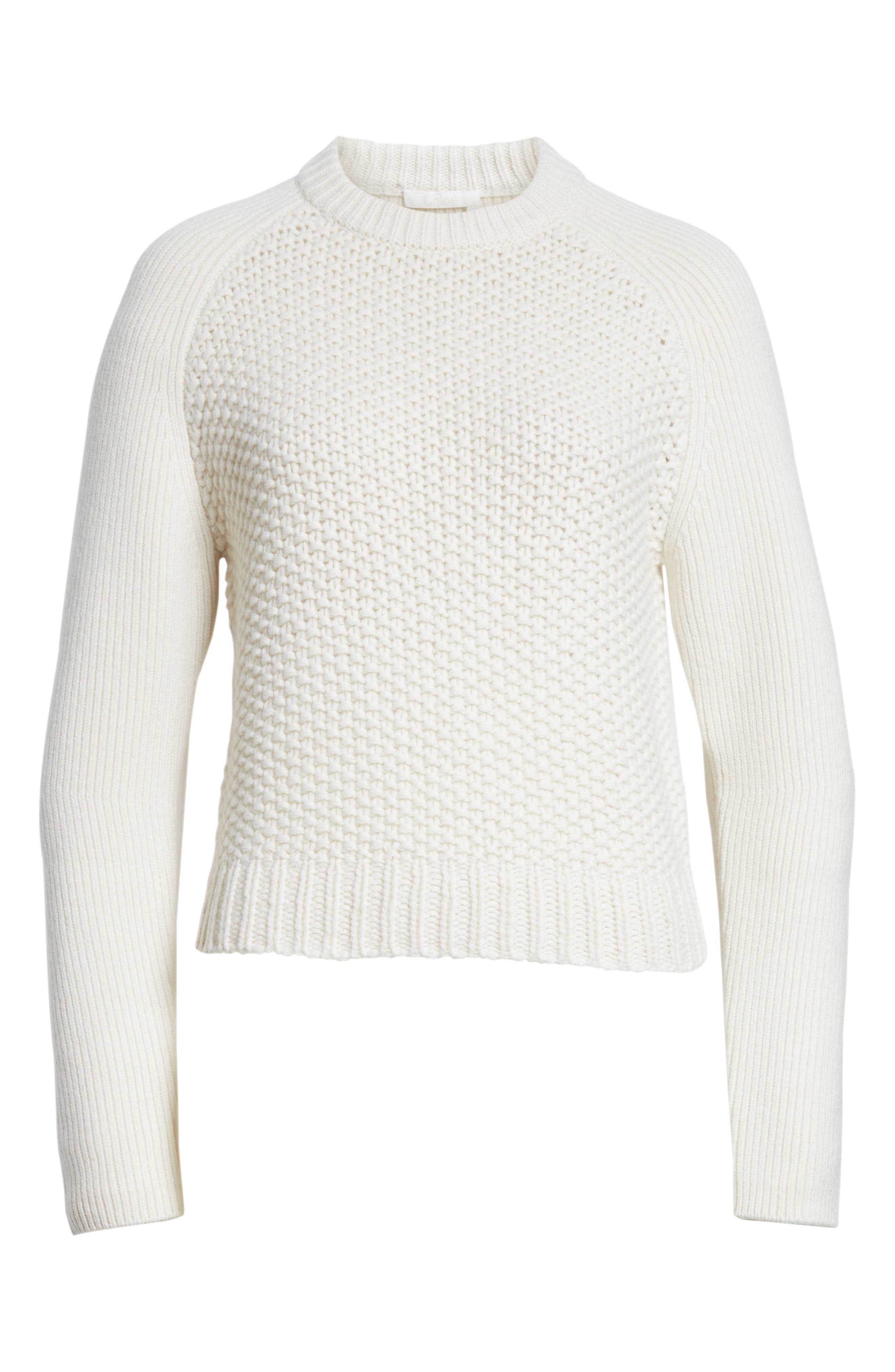 Mixed Knit Wool & Cashmere Blend Sweater,                             Alternate thumbnail 6, color,                             PRISTINE WHITE