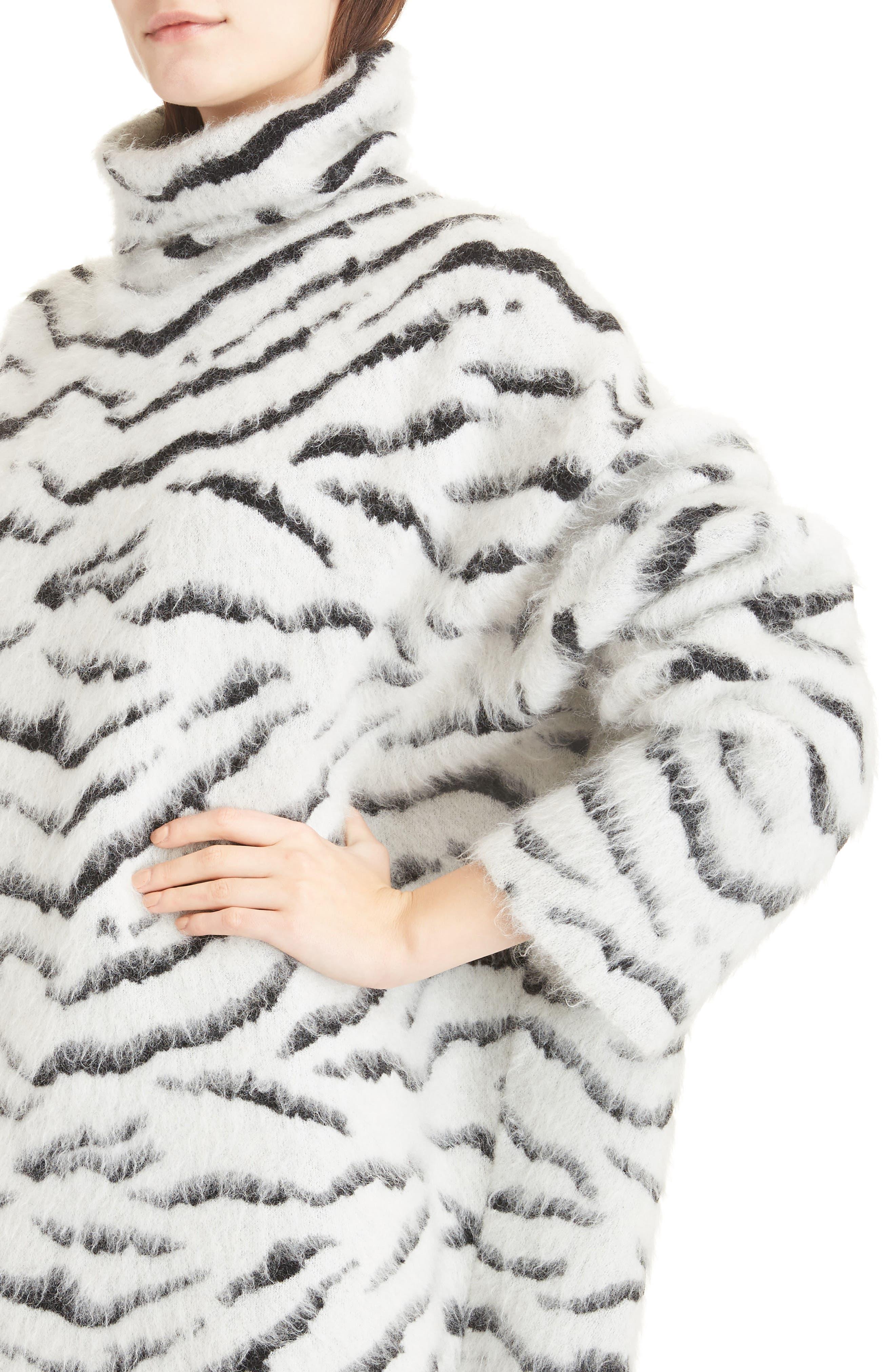 Zebra Stripe Mohair Blend Turtleneck Sweater,                             Alternate thumbnail 4, color,                             116