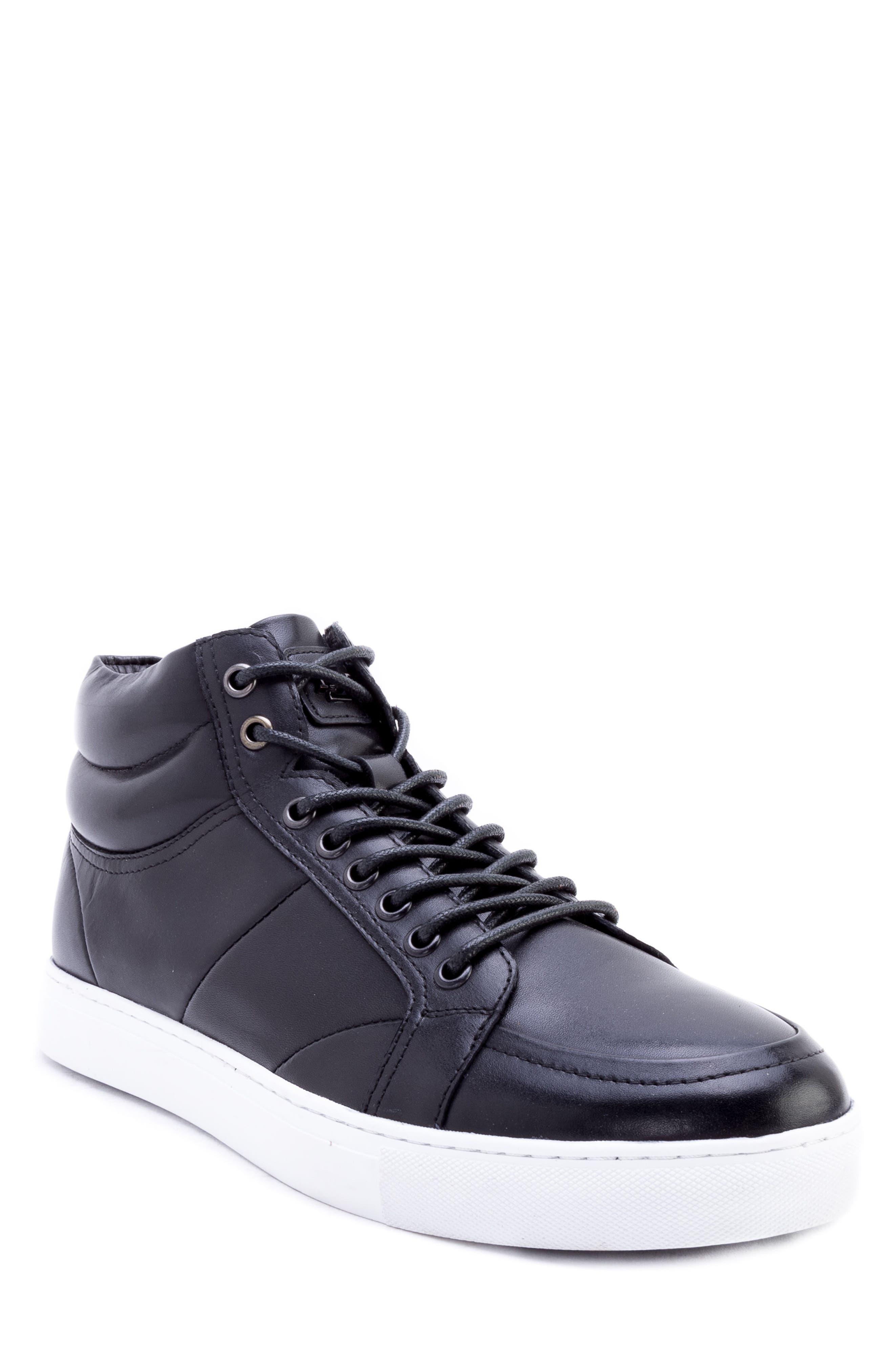 Tassel Mid Top Sneaker,                             Main thumbnail 1, color,                             BLACK LEATHER