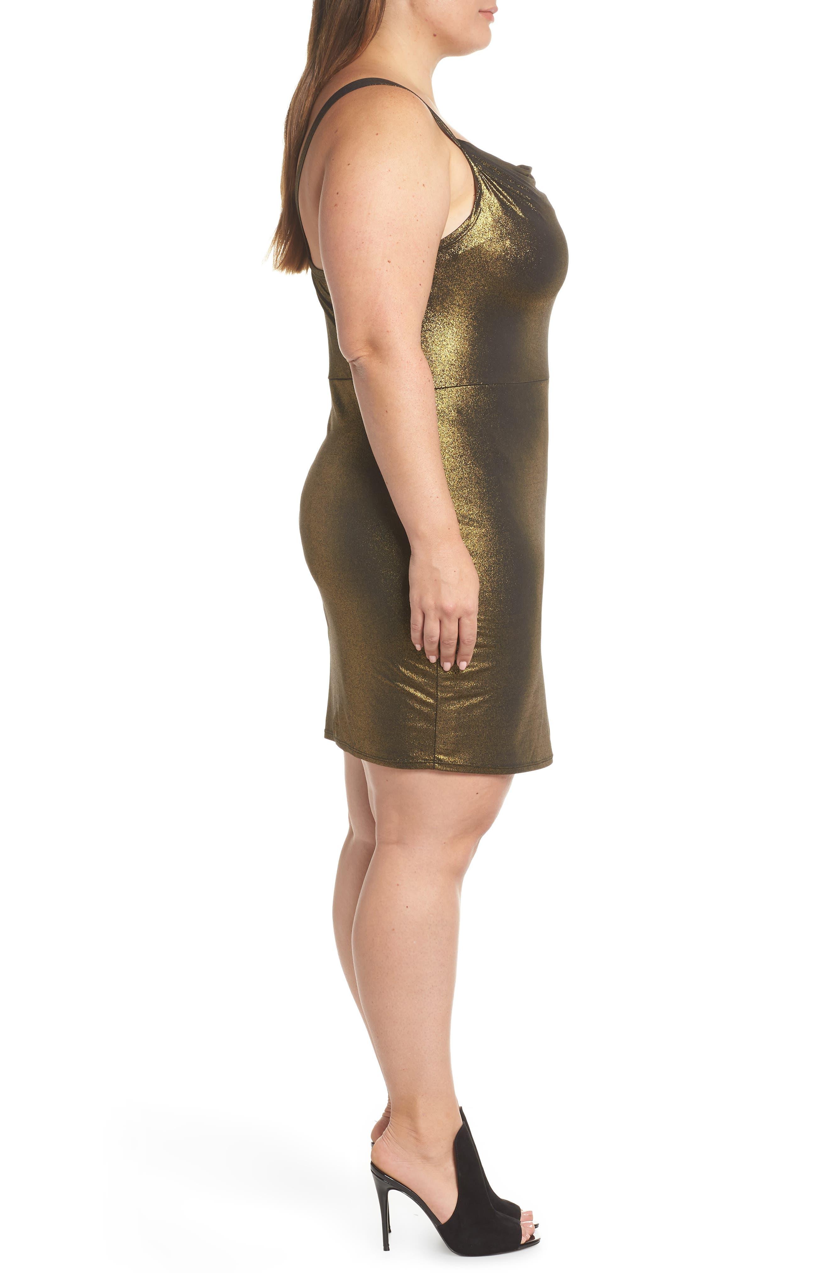 Cowl Neck Minidress,                             Alternate thumbnail 3, color,                             METALLIC GOLD