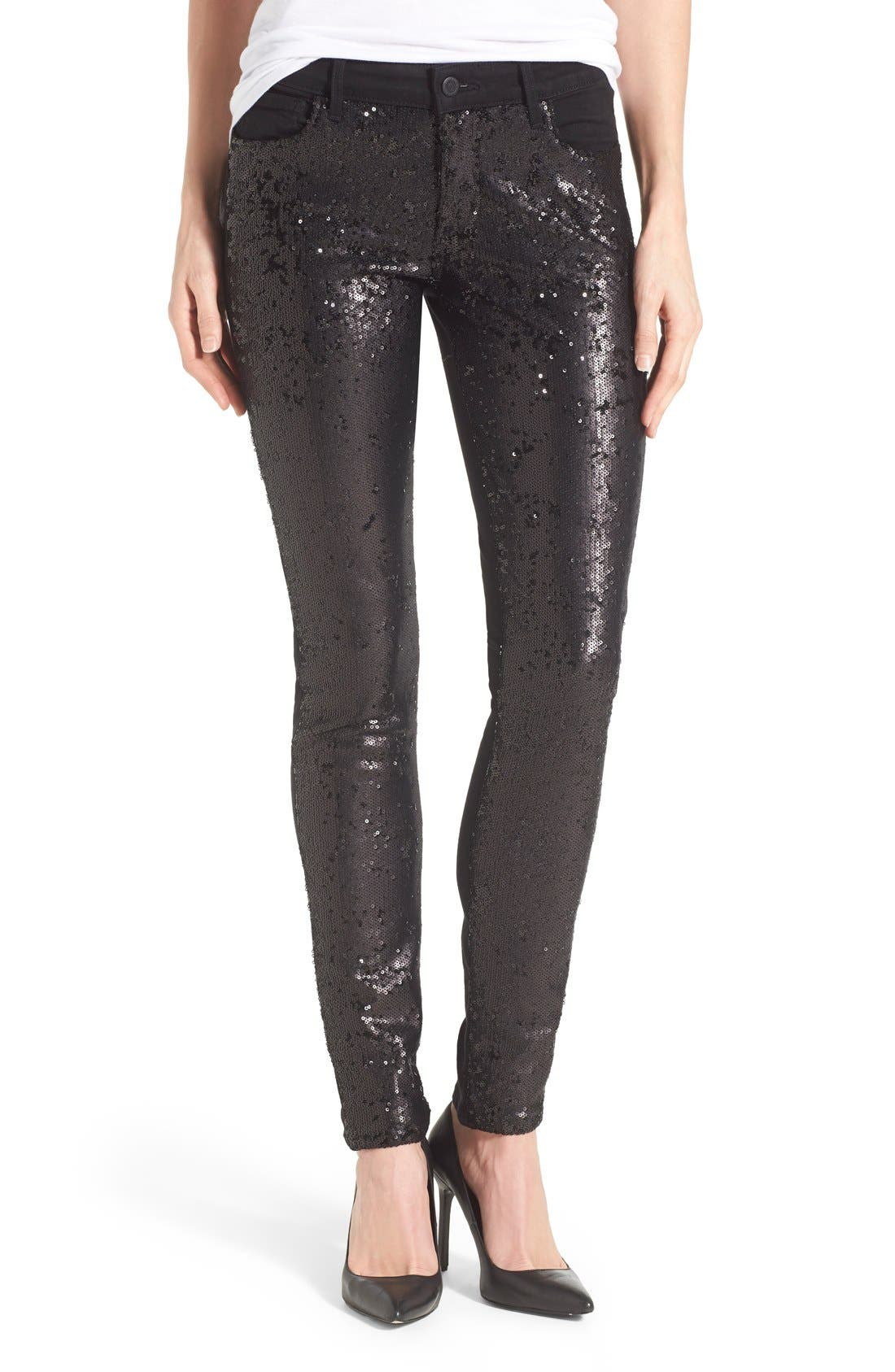 'Peace' Sequin Front Skinny Jeans, Main, color, 002