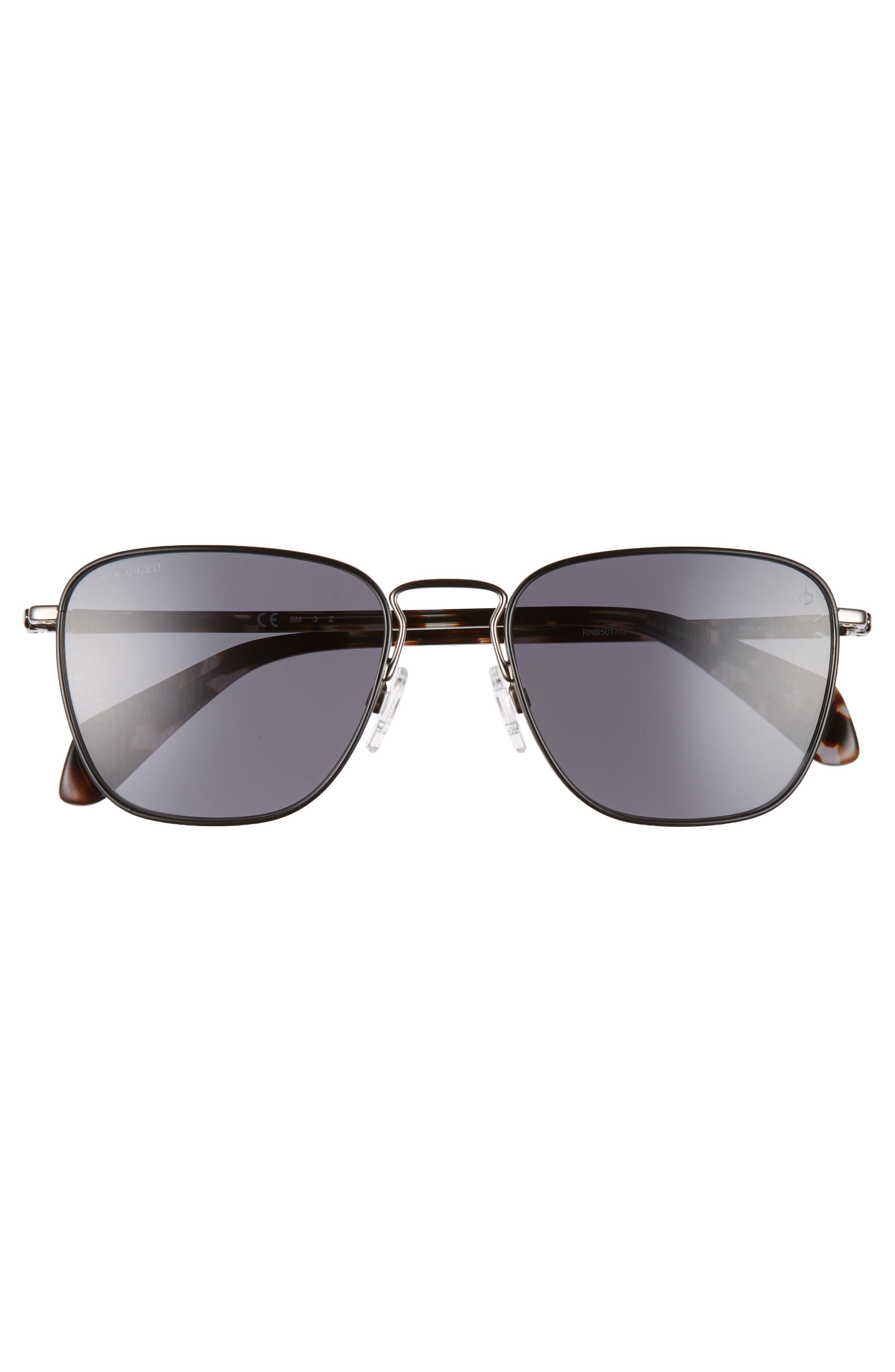 54mm Polarized Aviator Sunglasses,                             Alternate thumbnail 3, color,                             DARK RUTHENIUM/ BLACK