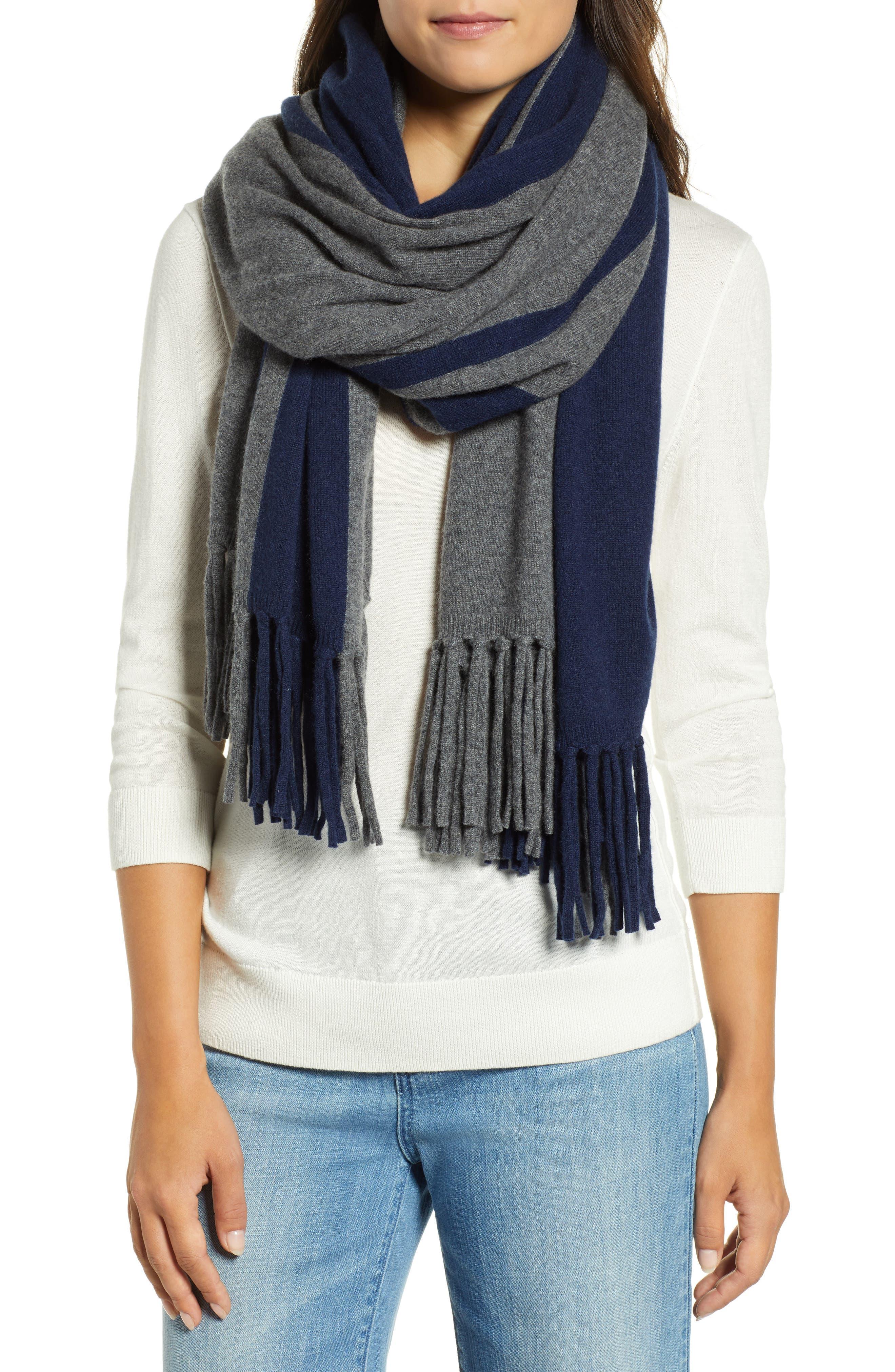 Stripe Cashmere Wrap Scarf,                         Main,                         color, GREY COMBO