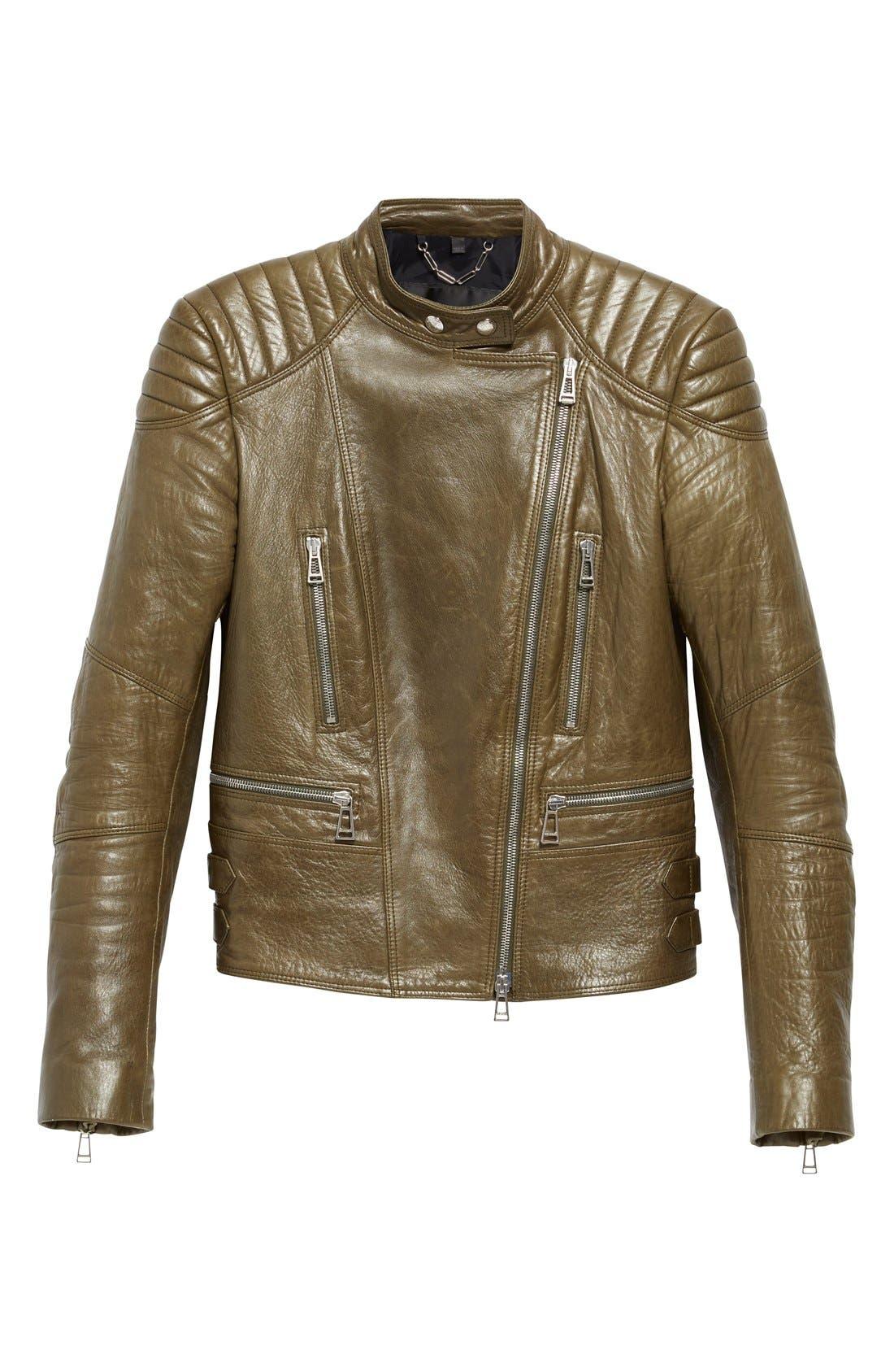 'Sidney' Leather Moto Jacket,                             Alternate thumbnail 2, color,                             338