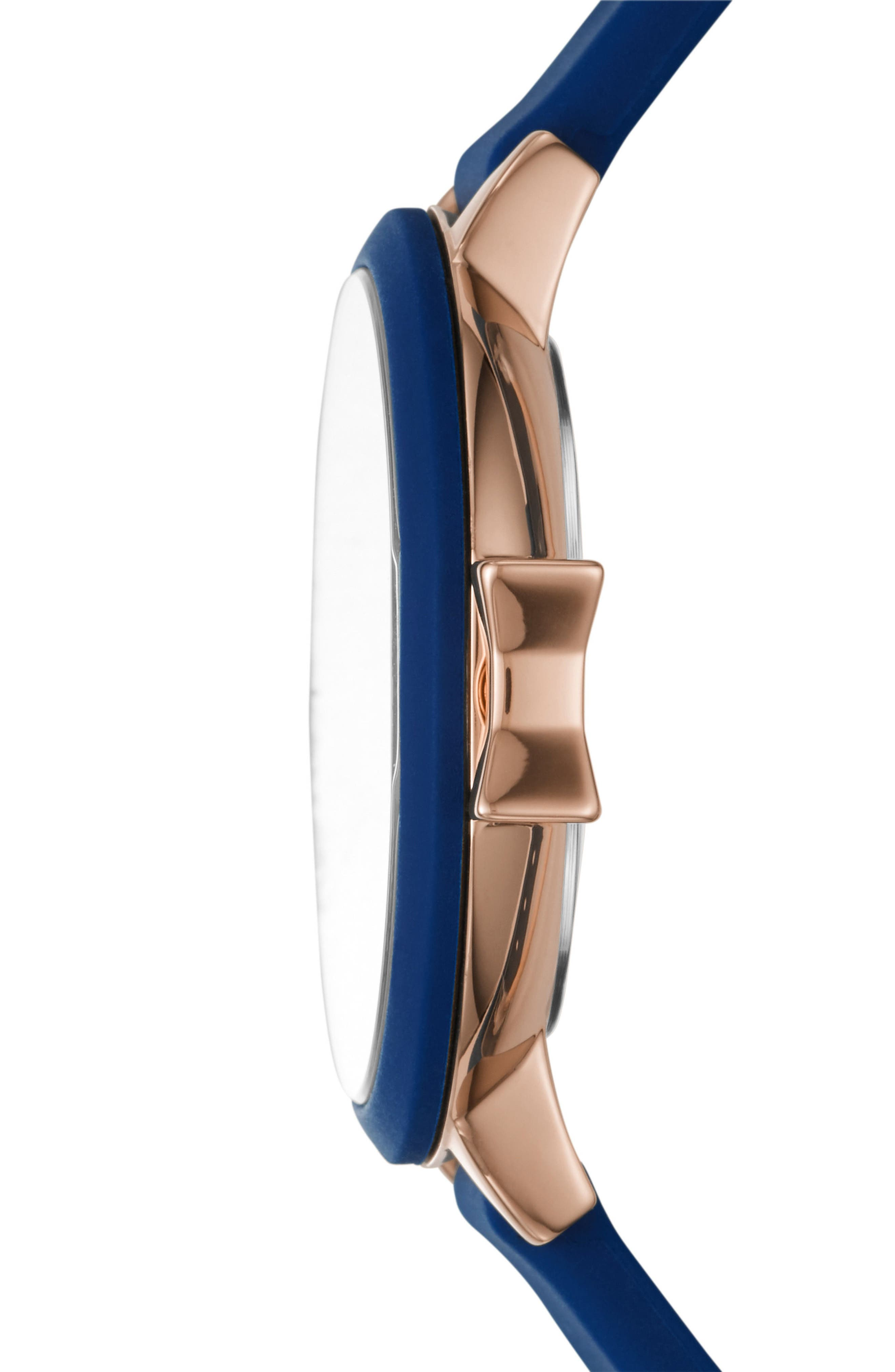 park row silicone strap watch, 34mm,                             Alternate thumbnail 2, color,                             BLUE/ ROSE GOLD