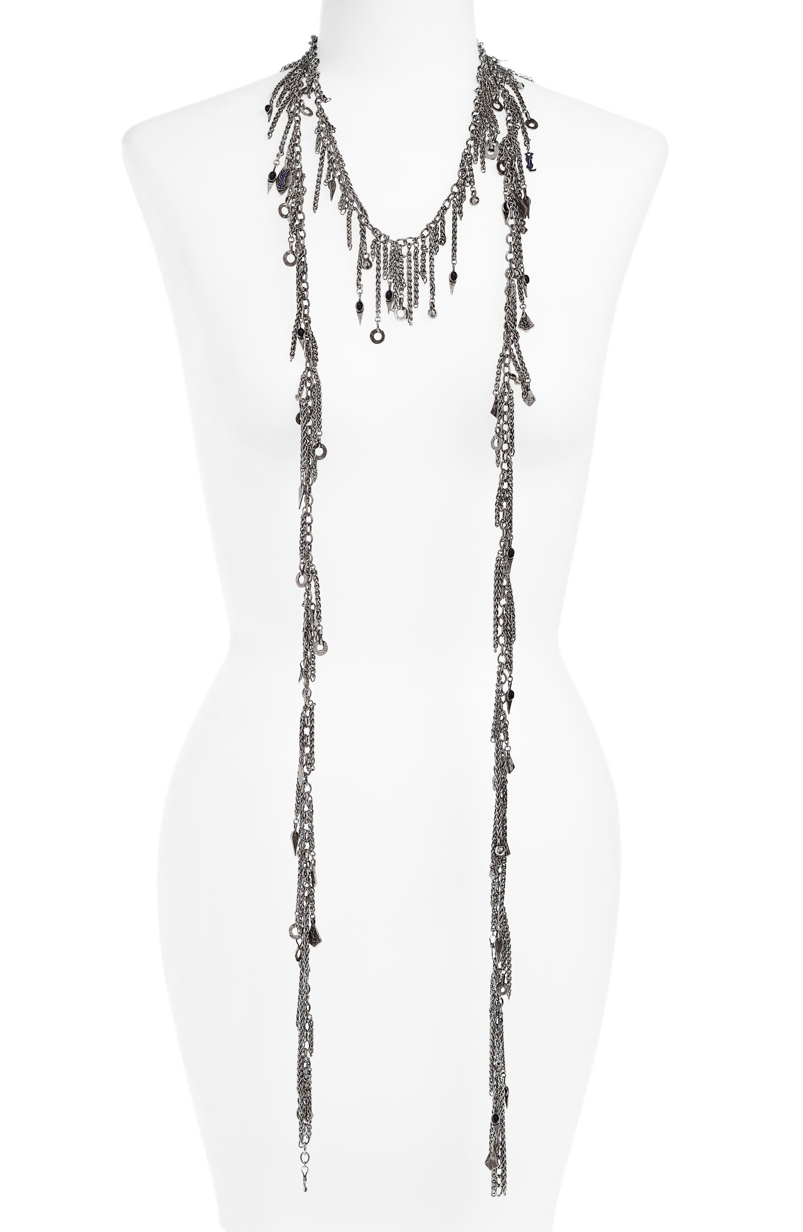 Pewter Cravat Necklace,                         Main,                         color, 040