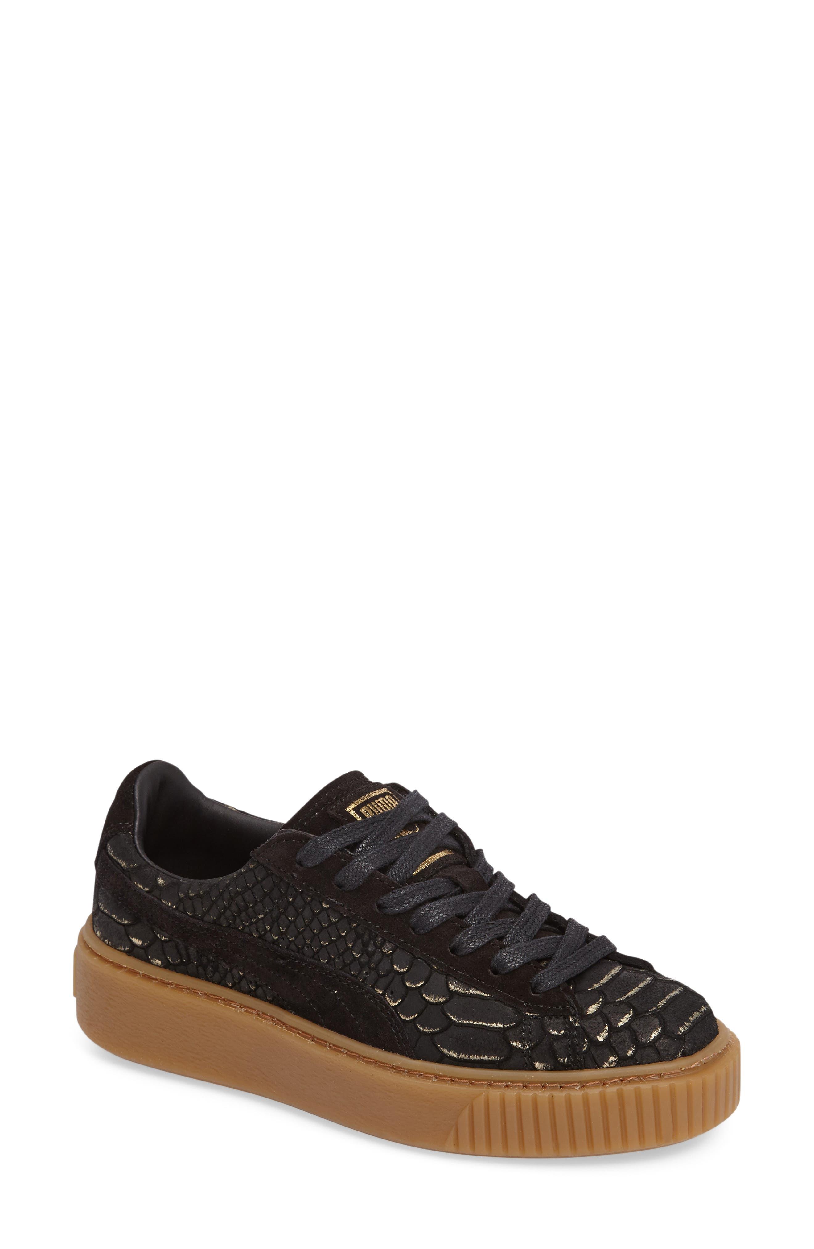Exotic Skin Platform Sneaker,                             Main thumbnail 1, color,                             001
