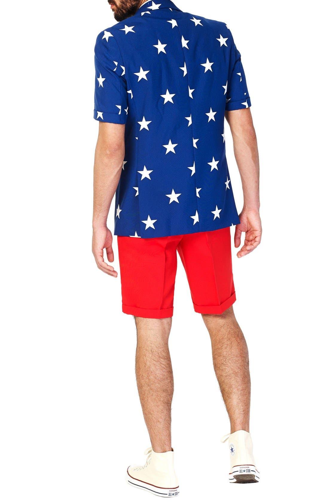 'Summer Stars & Stripes' Trim Fit Short Suit with Tie,                             Alternate thumbnail 2, color,                             400