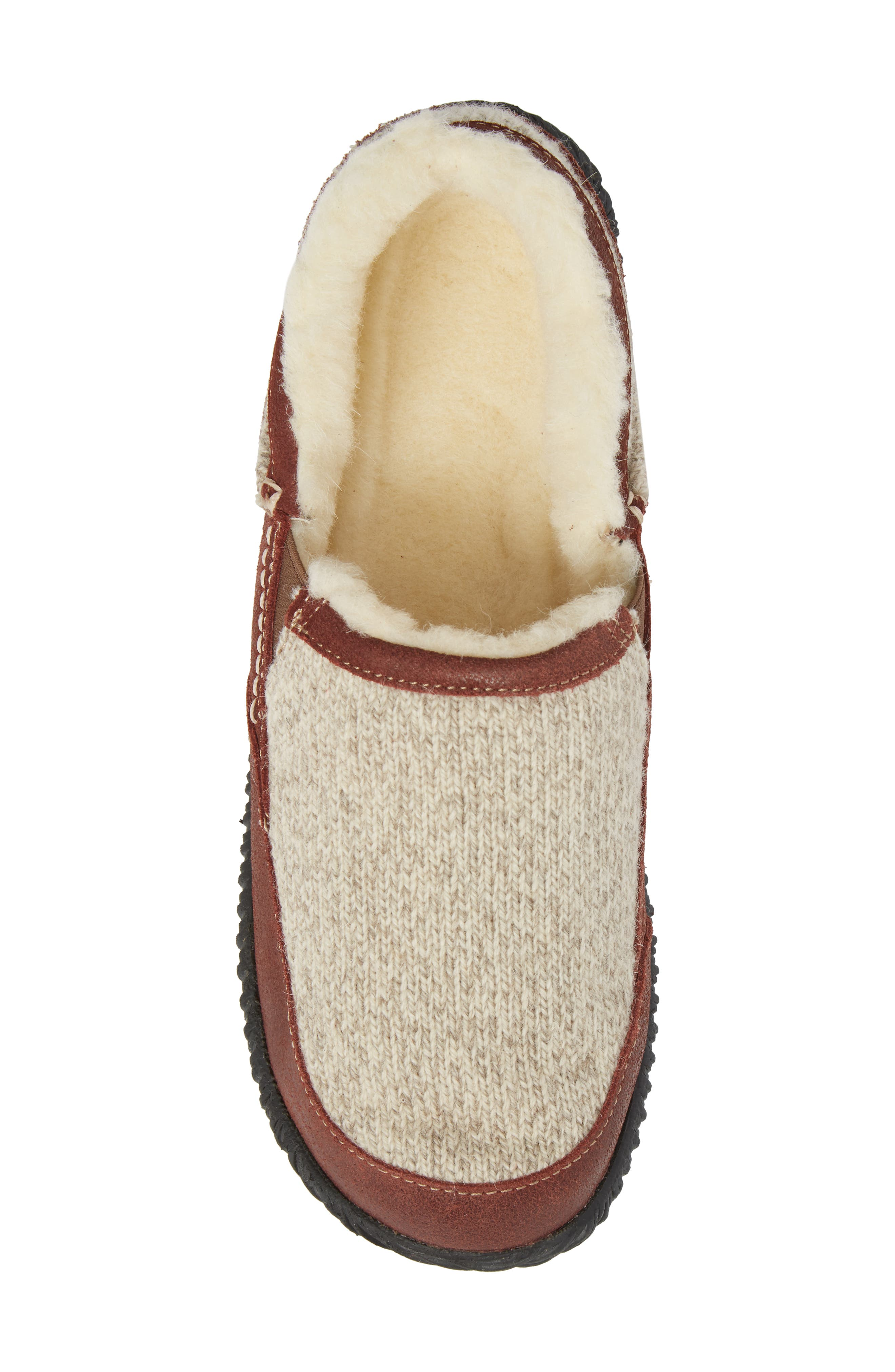'Rambler' Moc Toe Slipper,                             Alternate thumbnail 5, color,                             GREY RAGG WOOL