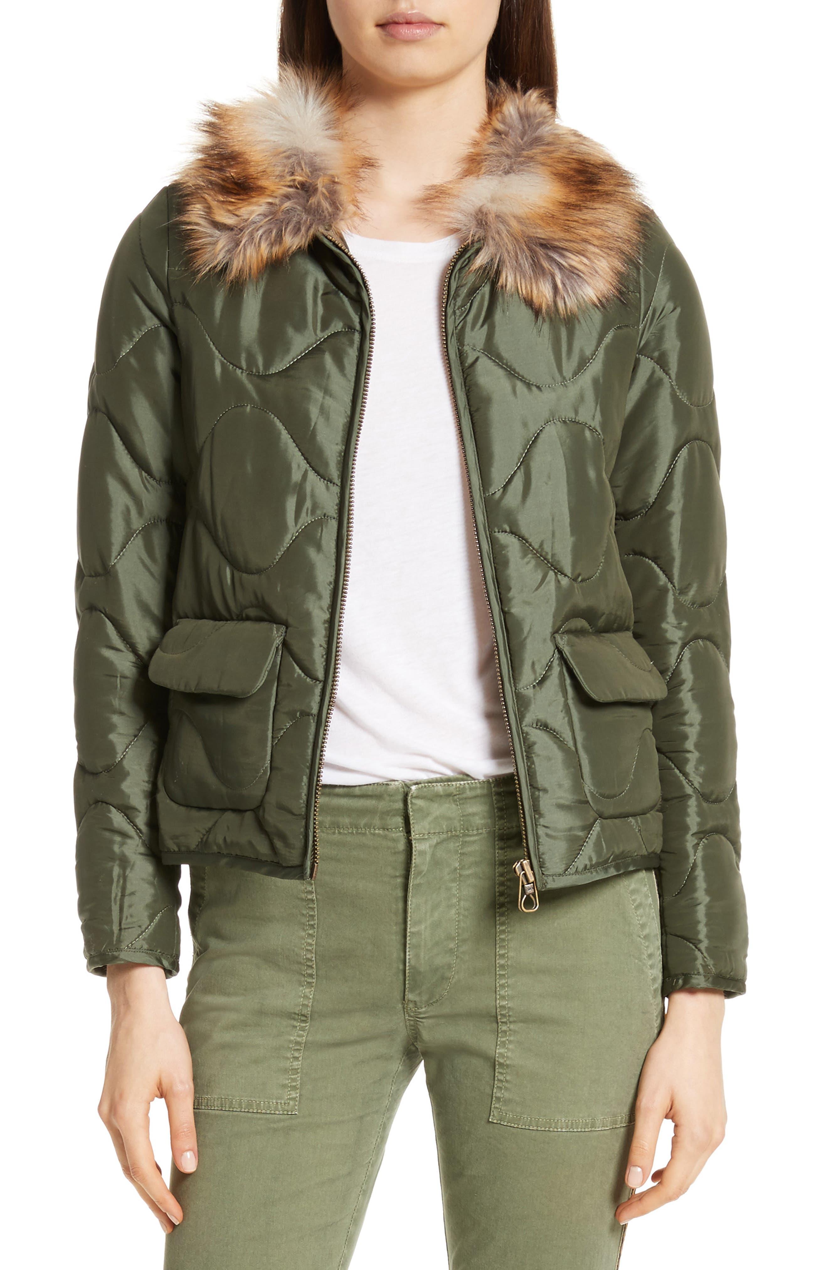 Alvy Faux Fur Collar Quilted Coat,                             Main thumbnail 1, color,                             310