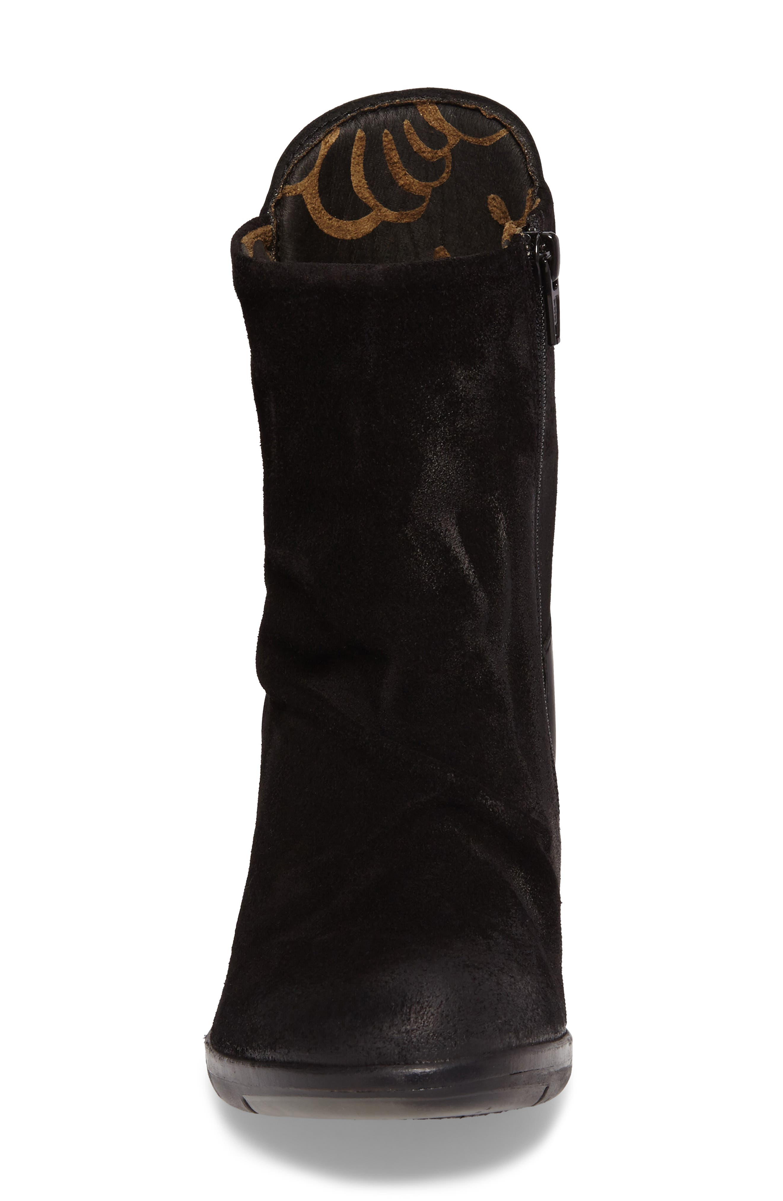 Hota Slouch Bootie,                             Alternate thumbnail 4, color,                             BLACK LEATHER