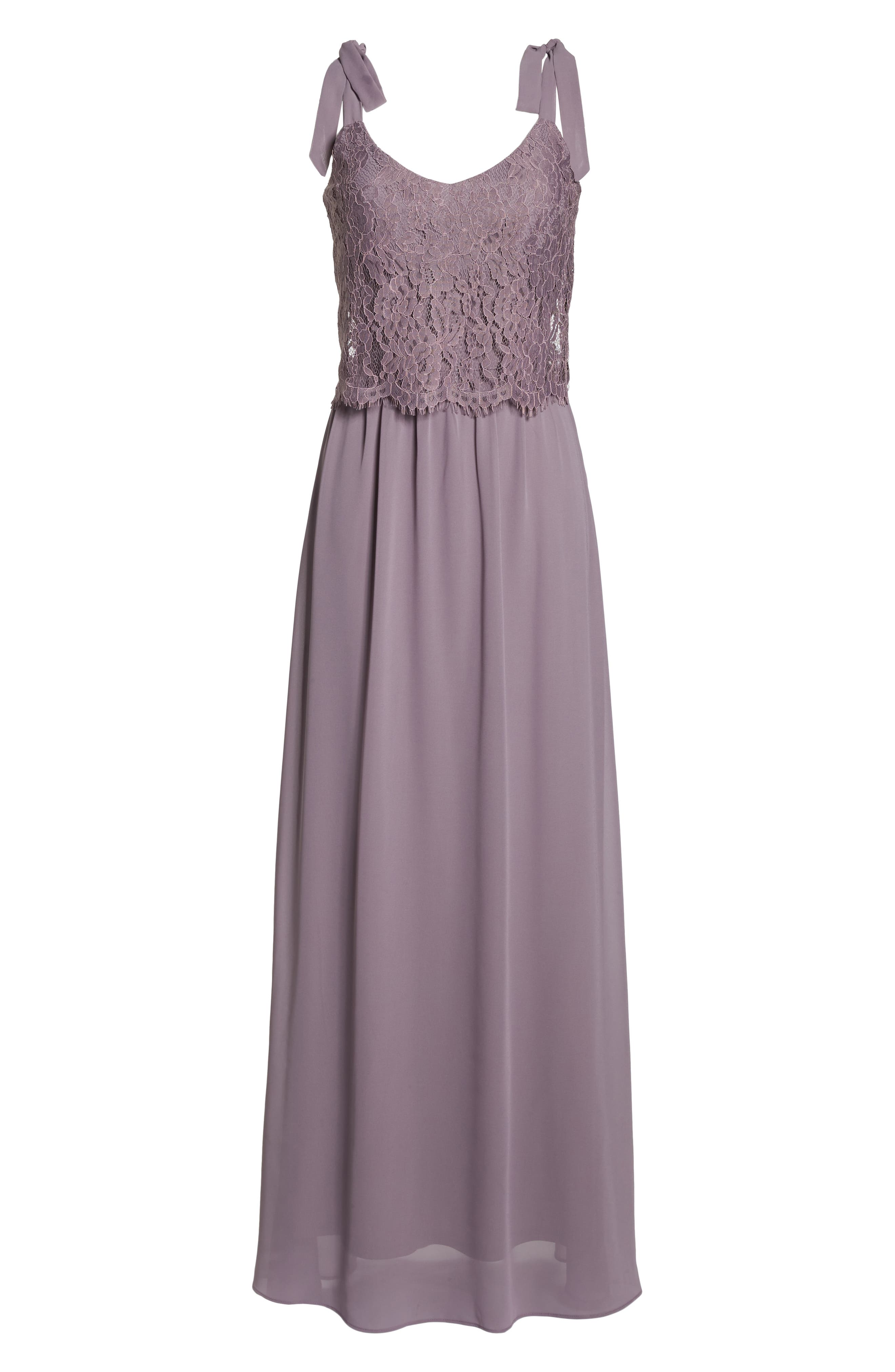 Koko Tie Shoulder Lace Bodice Gown,                             Alternate thumbnail 7, color,                             LILAC
