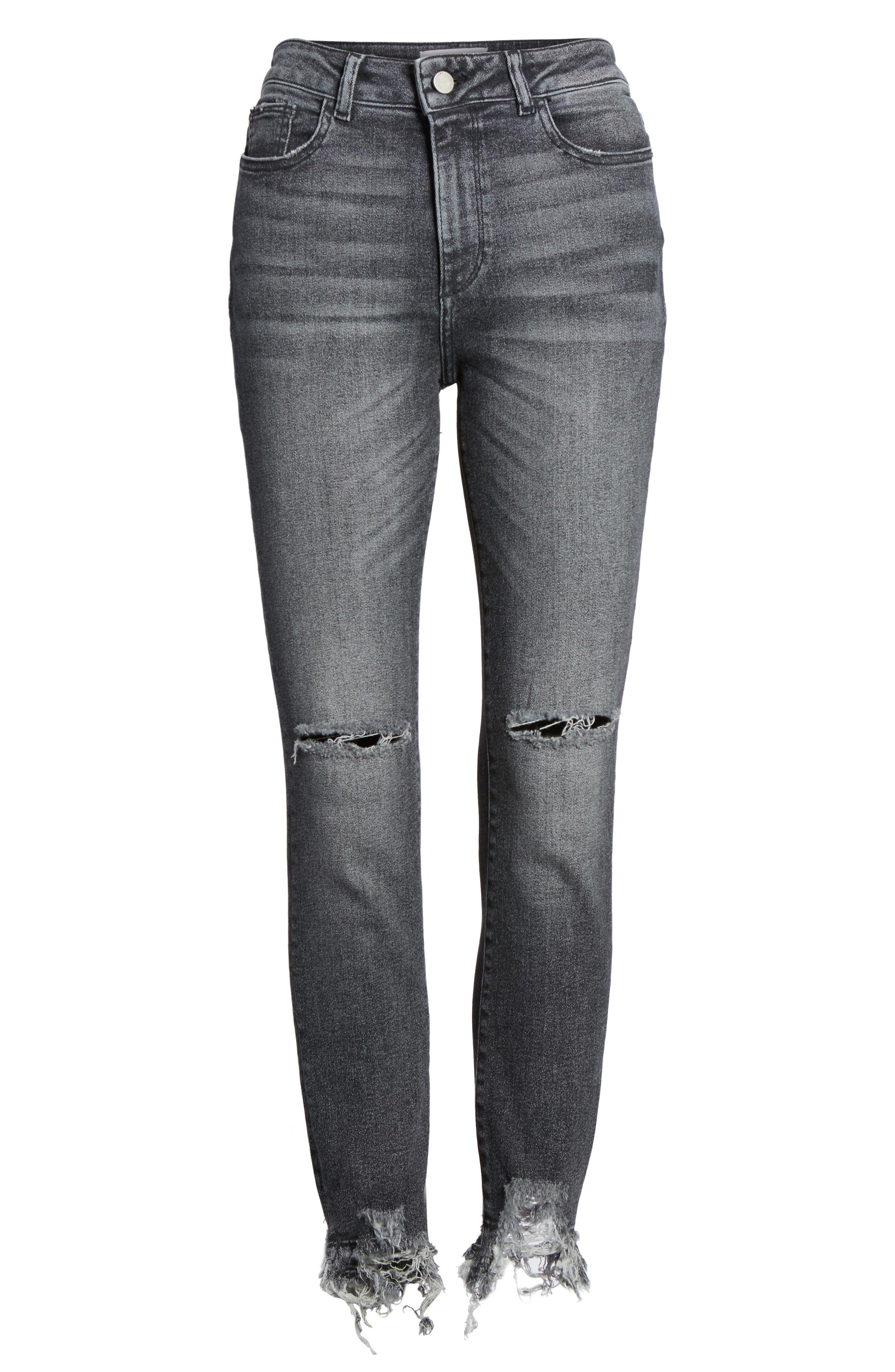 Farrow Ripped Ankle Jeans,                             Alternate thumbnail 7, color,                             LIGHT SMOKE