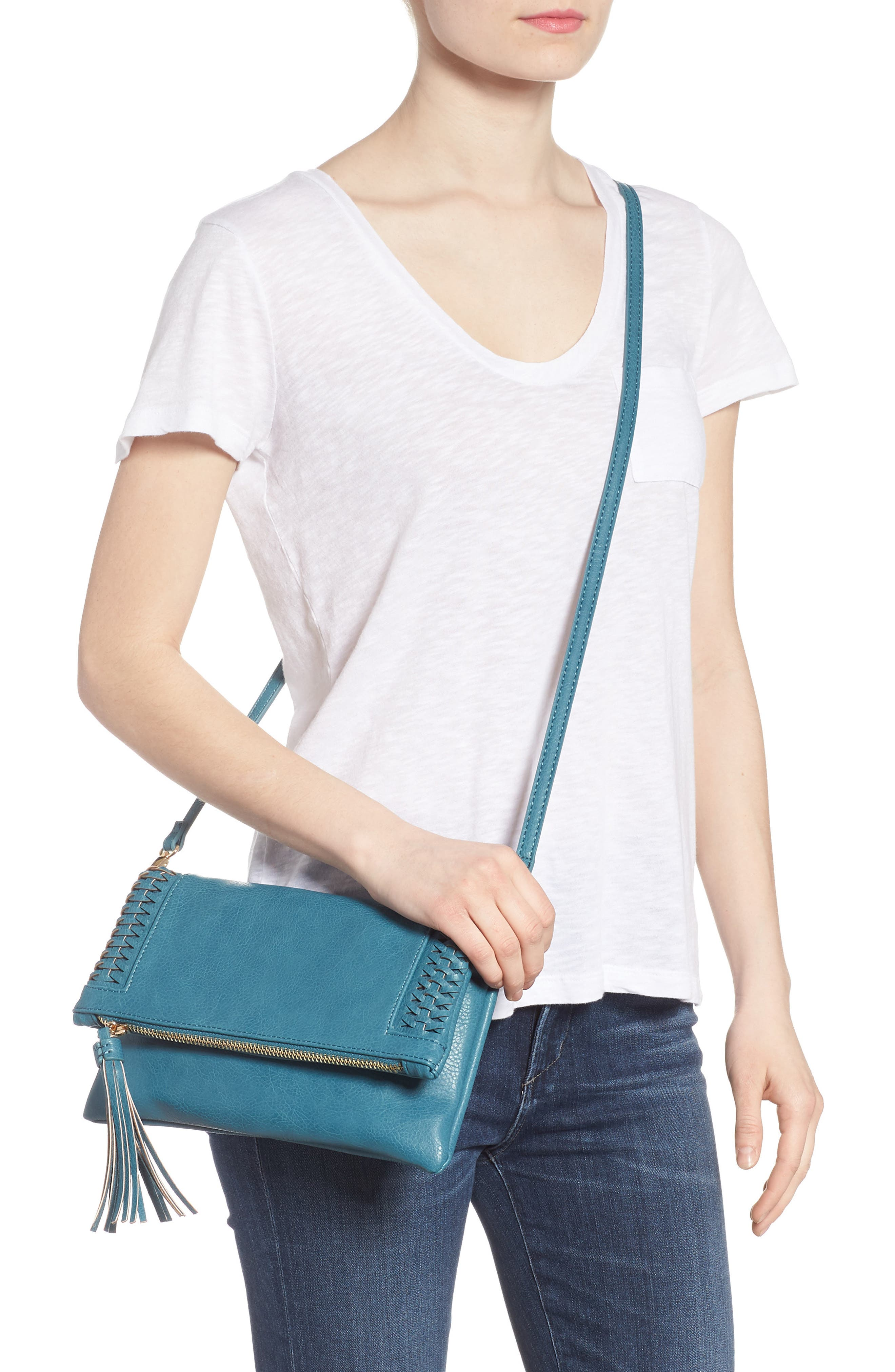 Tara Whipstitched Faux Leather Clutch,                             Alternate thumbnail 4, color,