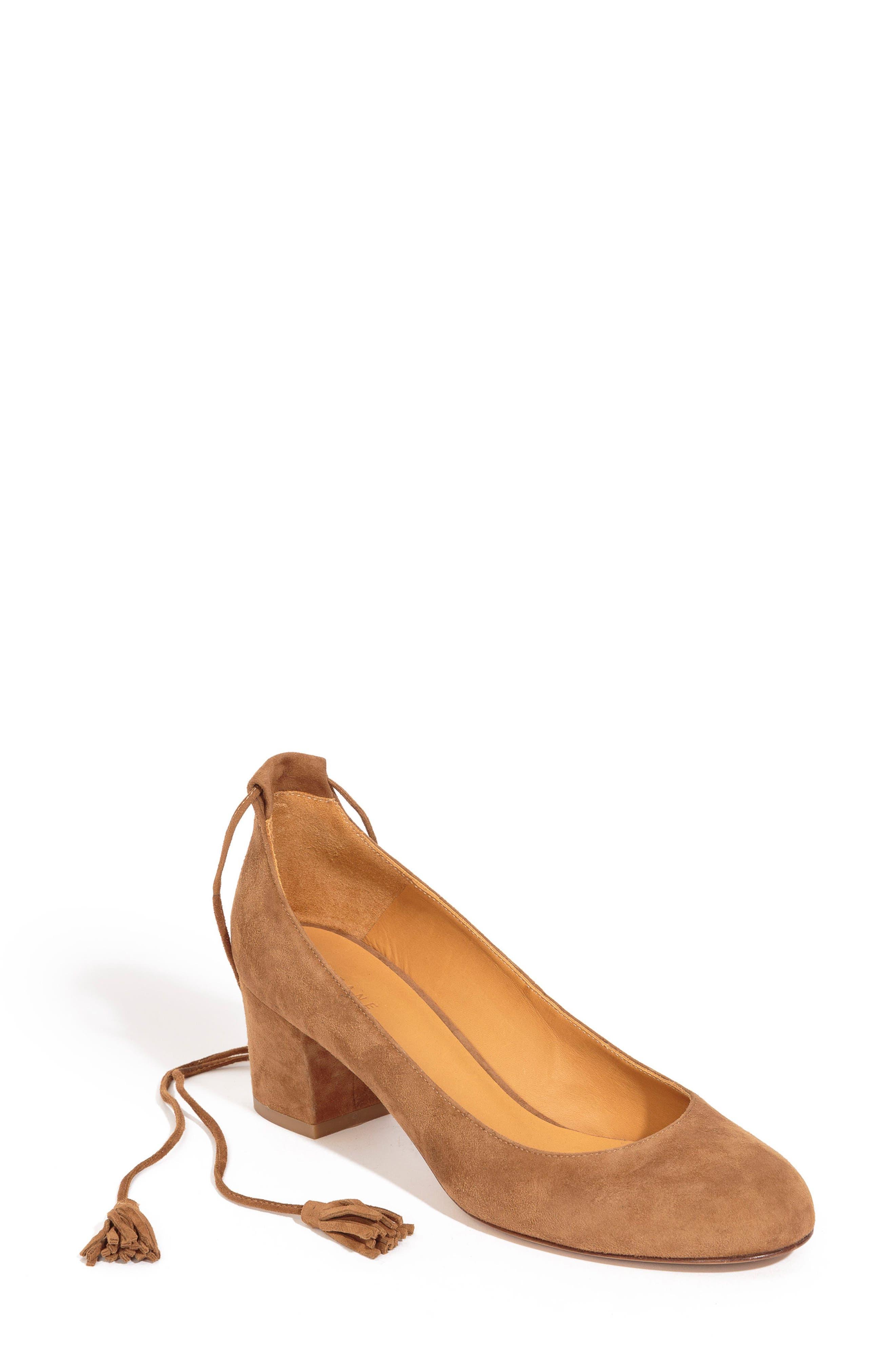 Valentina Ankle Wrap Pump,                         Main,                         color, HAZELNUT BROWN SUEDE