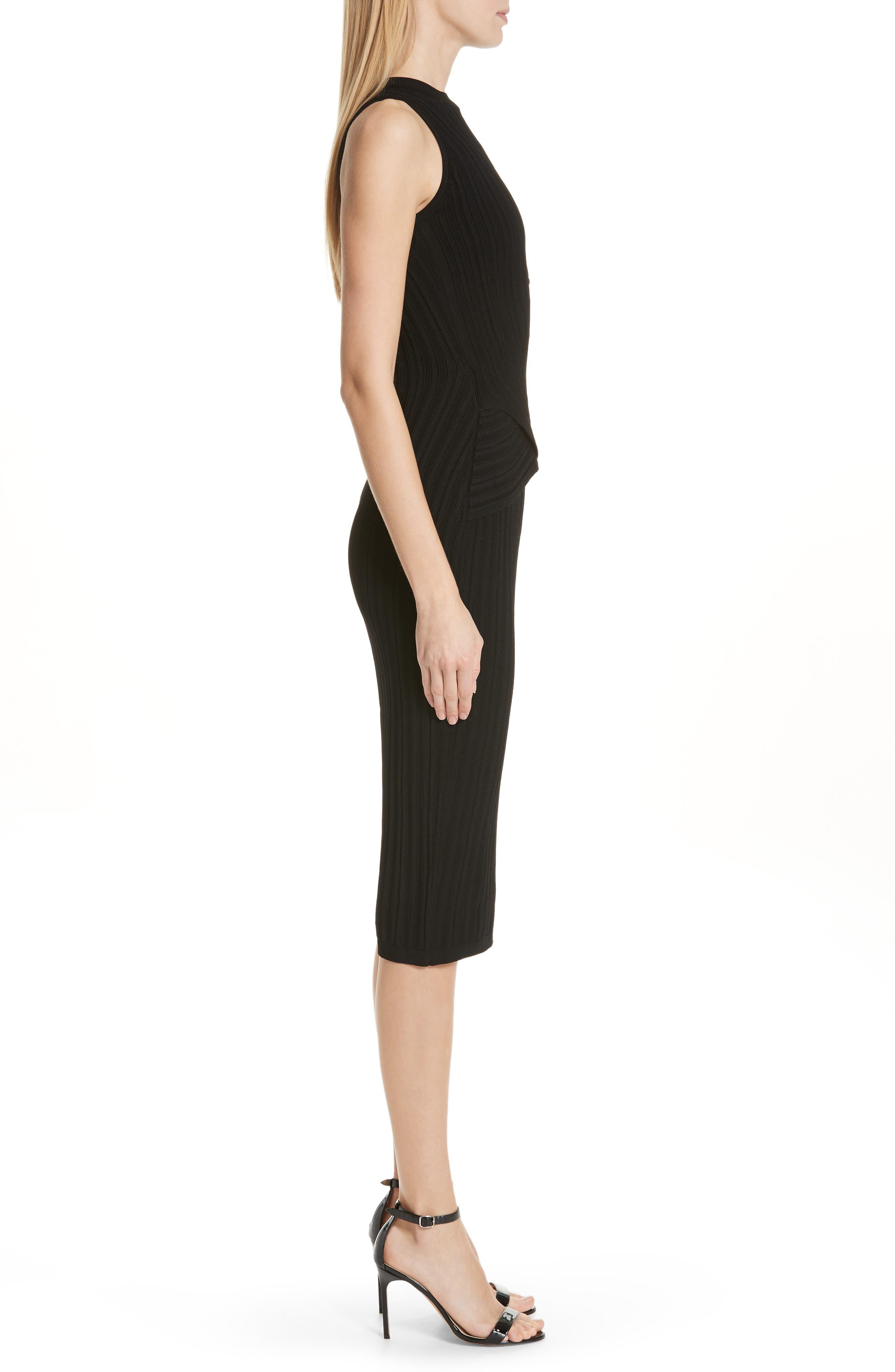CUSHNIE,                             Knit Pencil Dress,                             Alternate thumbnail 3, color,                             BLACK