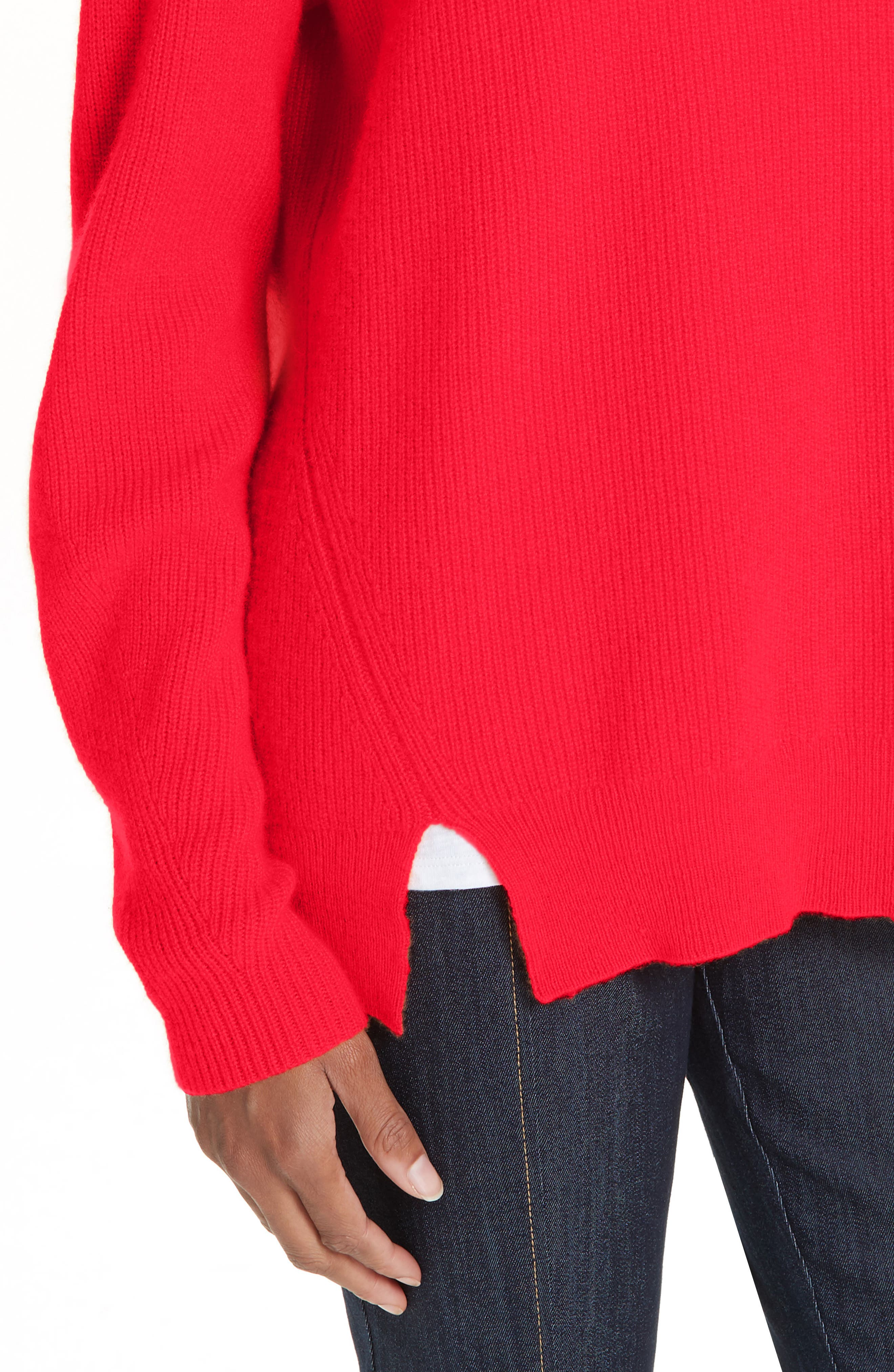 Lillie Layered Cashmere Sweater,                             Alternate thumbnail 4, color,                             POPPY PINK
