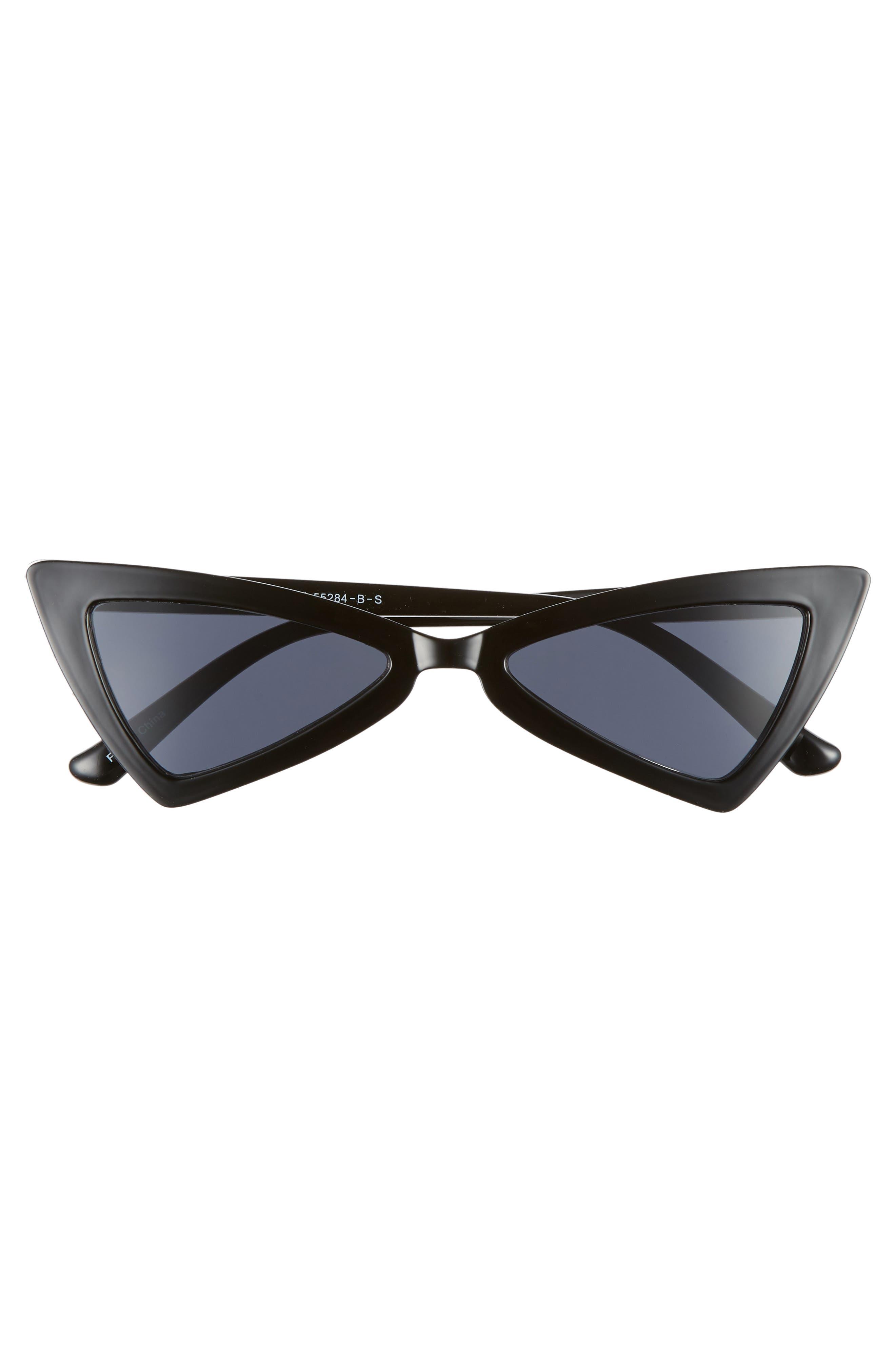 Futuristic 55mm Cat Eye Sunglasses,                             Alternate thumbnail 3, color,                             BLACK