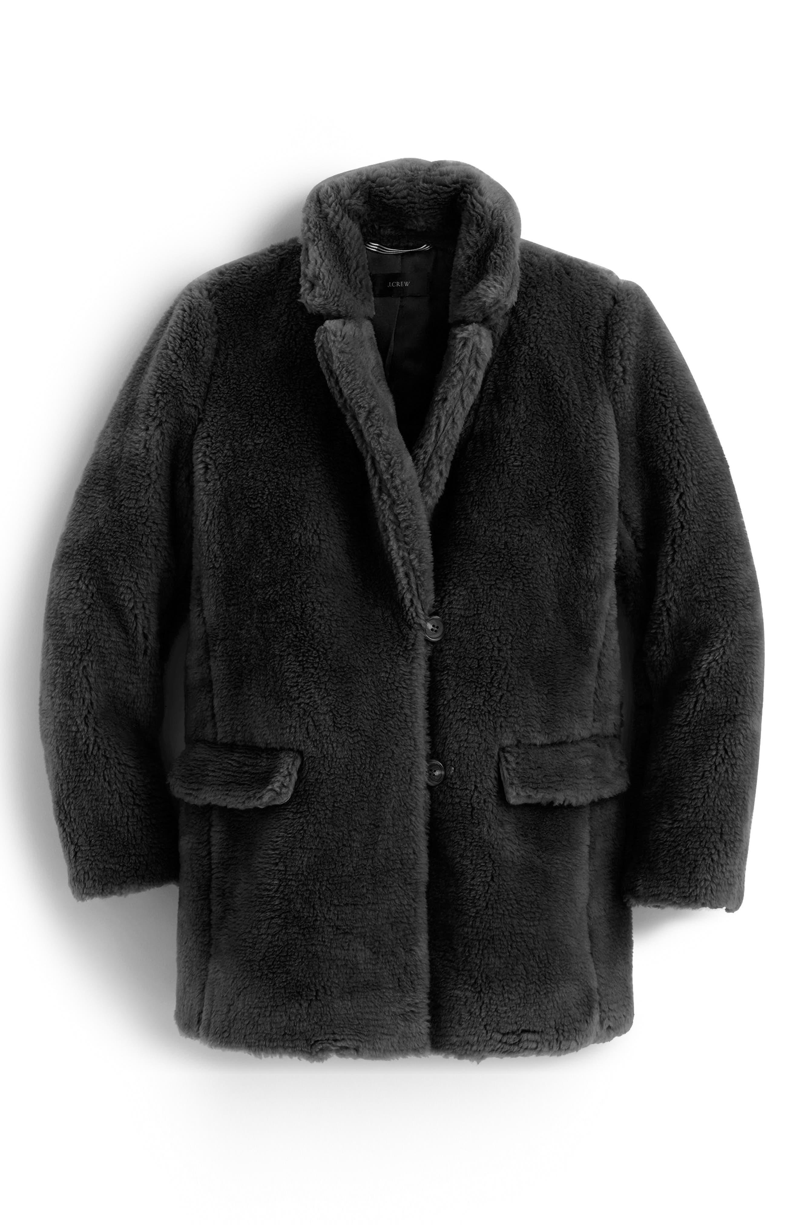 Yuna Teddy Faux Fur Jacket,                             Main thumbnail 1, color,                             BLACK