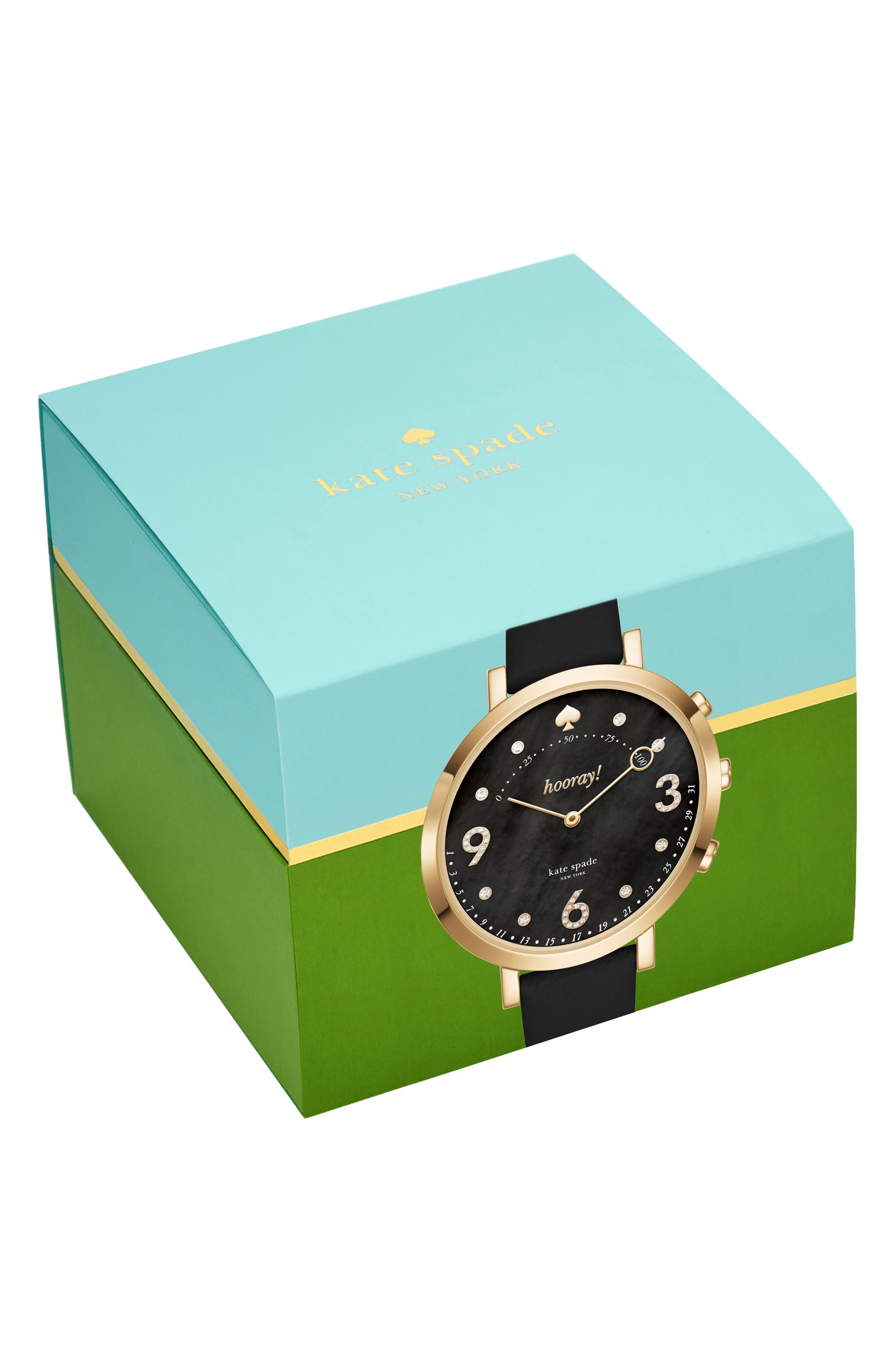 monterey hybrid leather strap watch, 41mm,                             Alternate thumbnail 3, color,                             001
