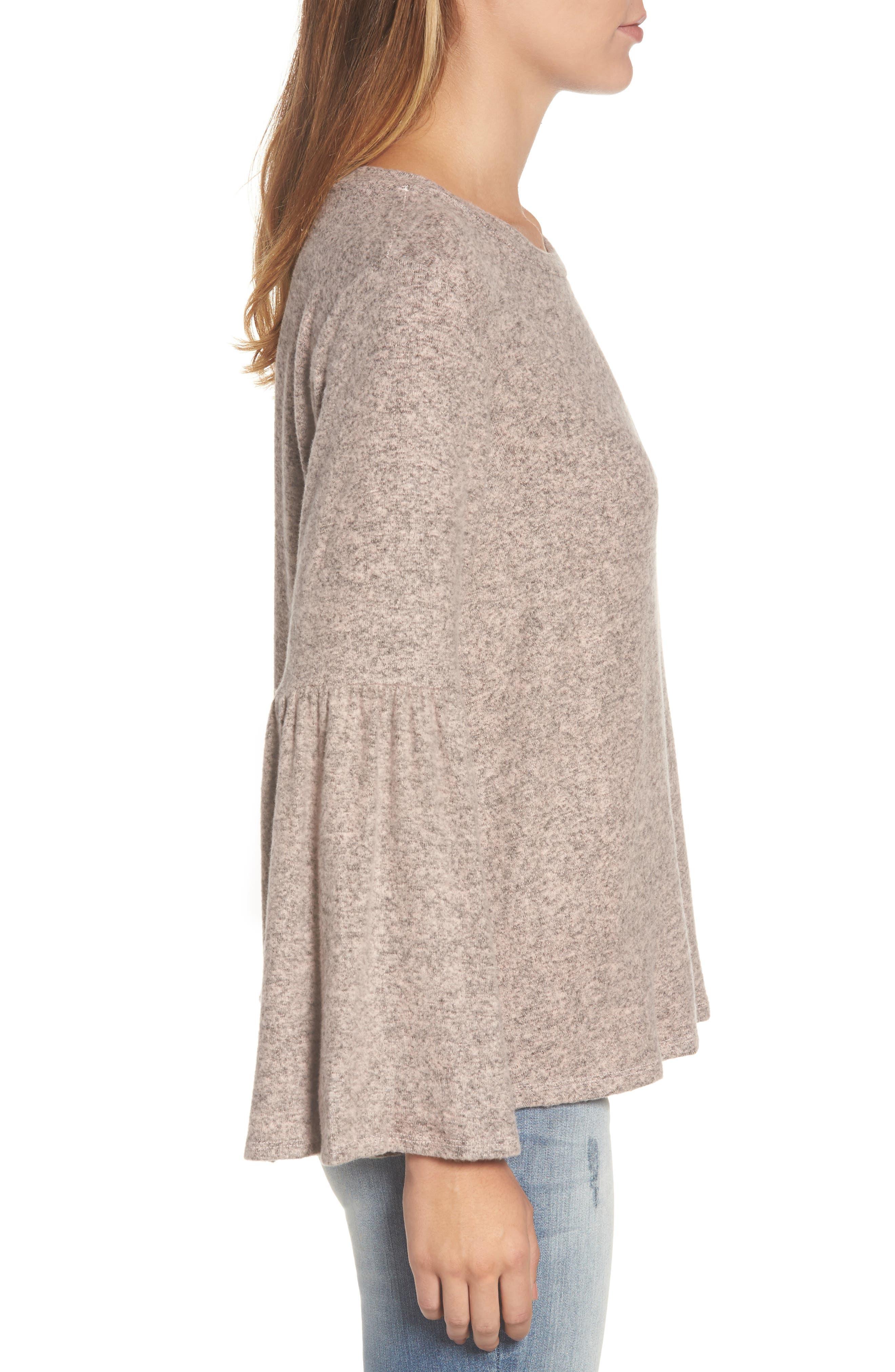 Bell Sleeve Cozy Fleece Pullover,                             Alternate thumbnail 30, color,