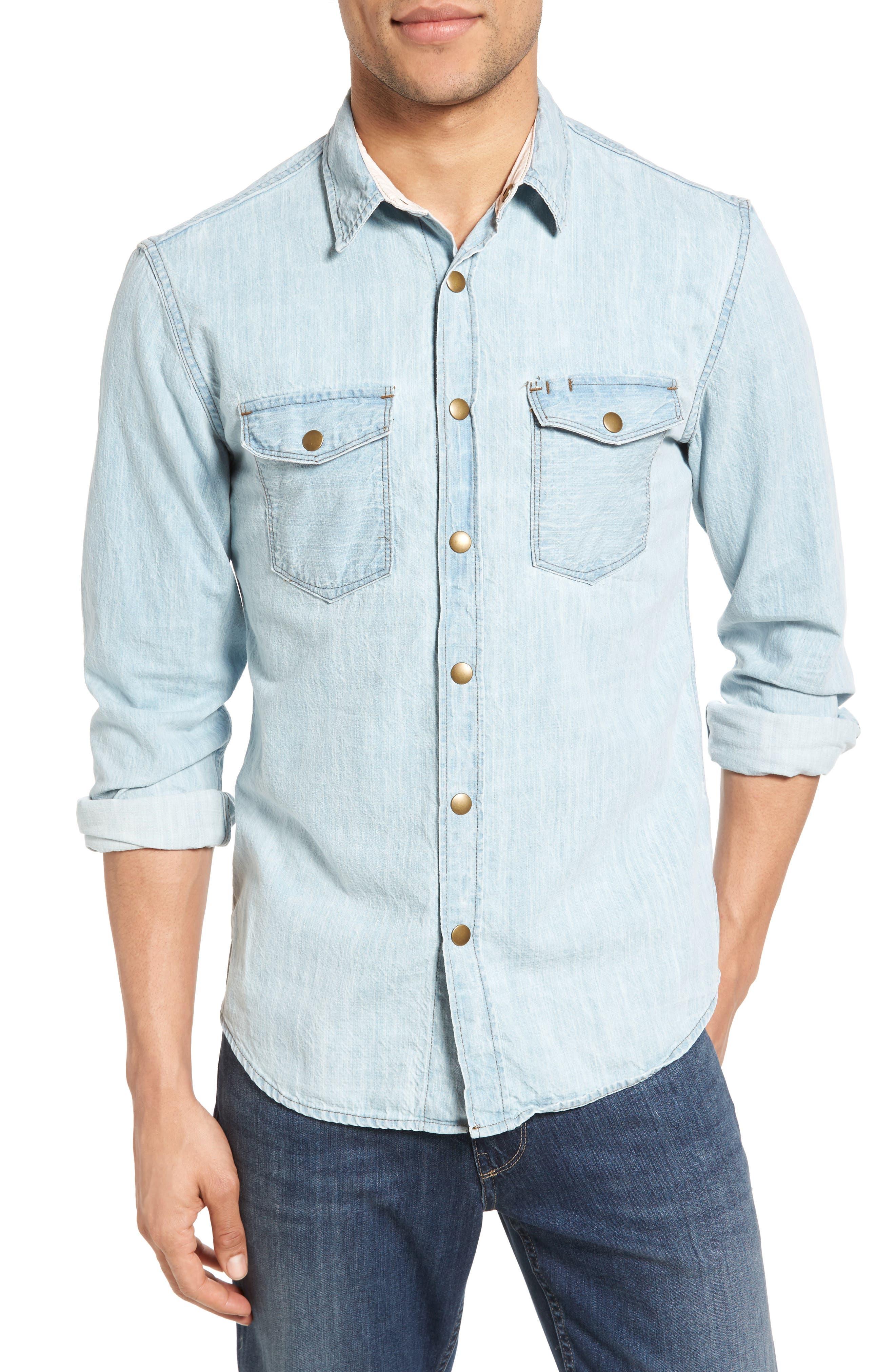 Selvedge Denim Shirt, Main, color, 414