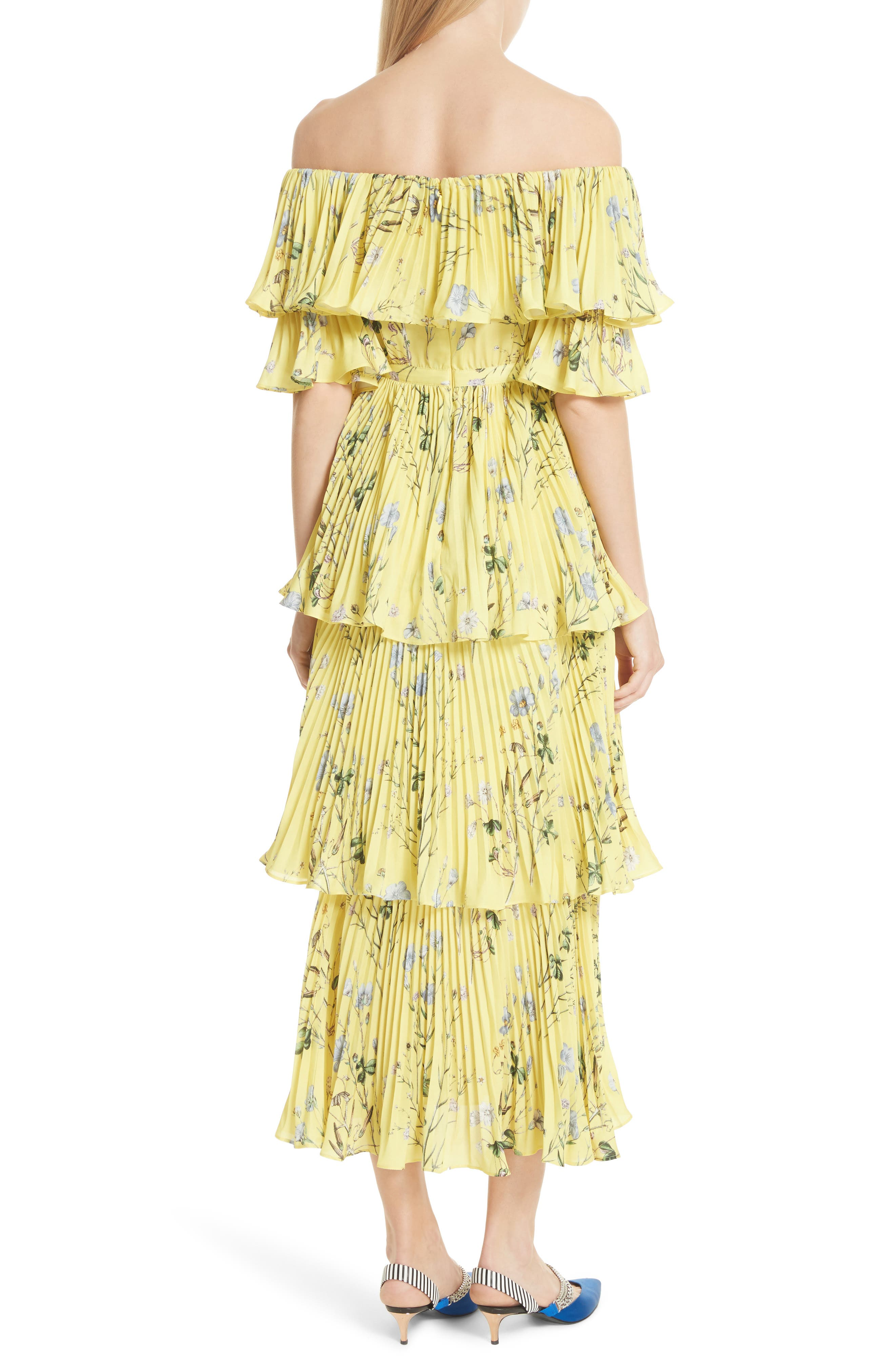 Floral Pleated Tiered Dress,                             Alternate thumbnail 2, color,                             700