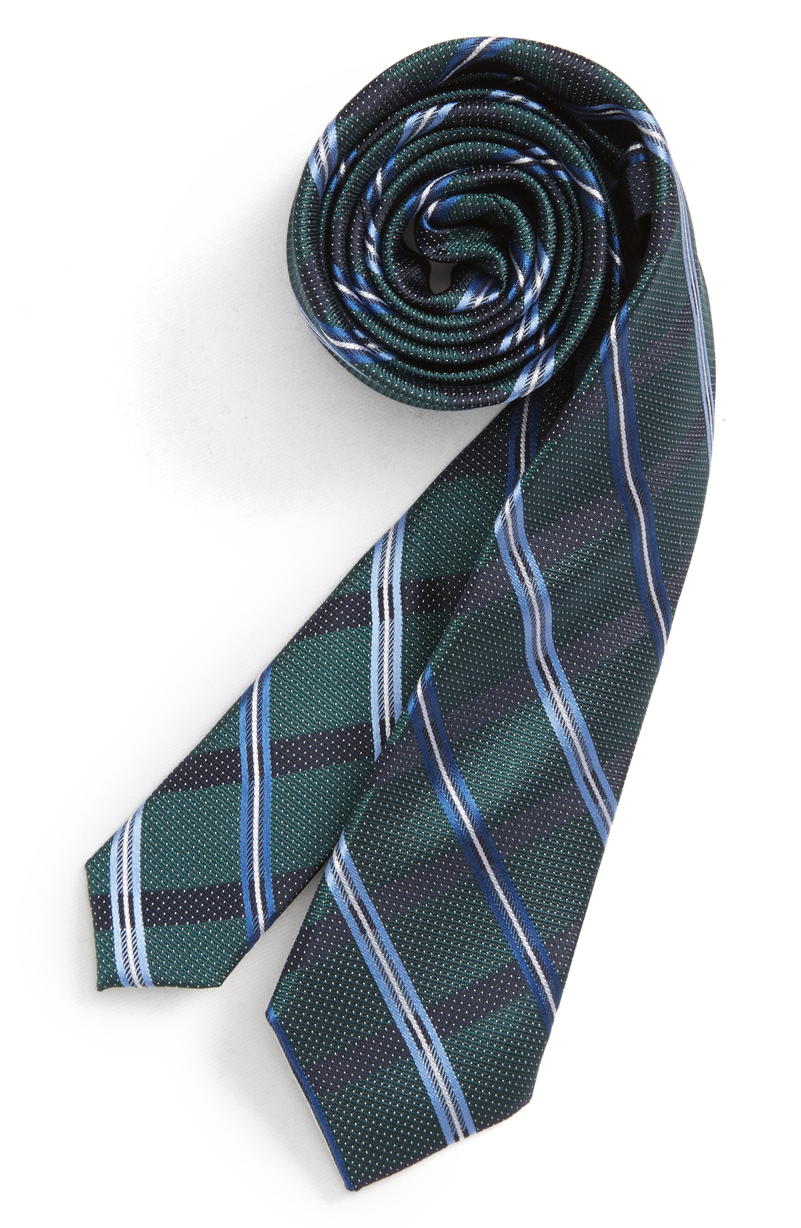 Stripe Silk Tie,                         Main,                         color, GREEN