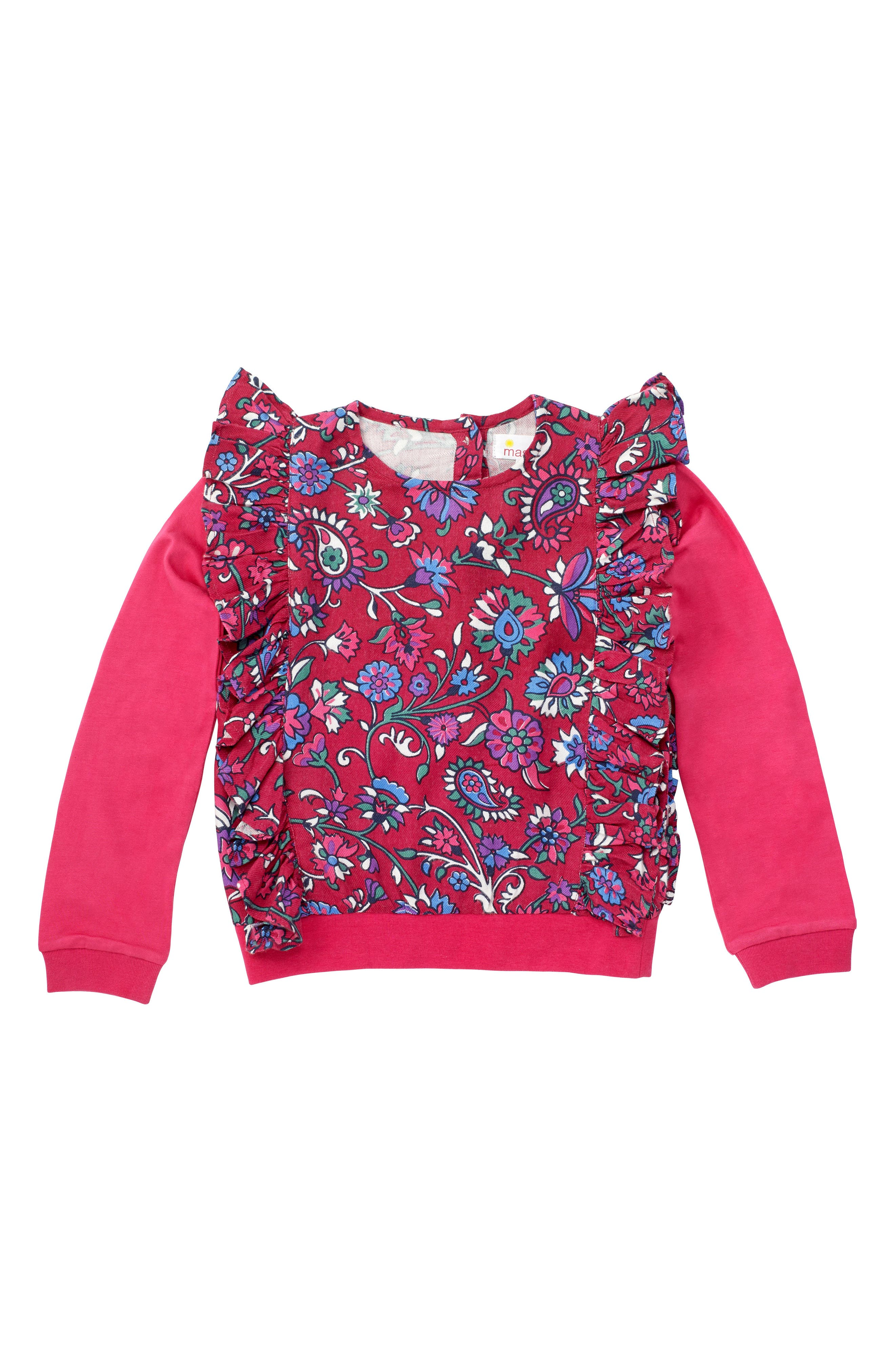 Floral Ruffle Top,                             Alternate thumbnail 2, color,